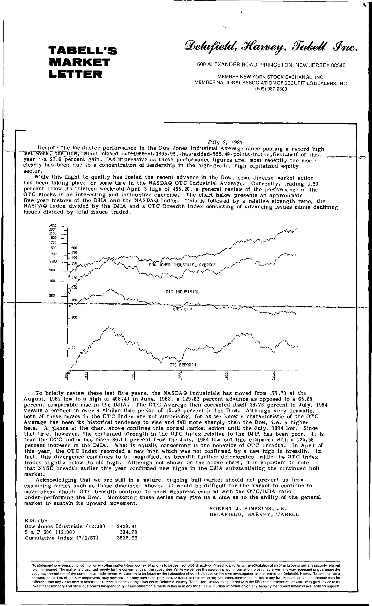 Tabell's Market Letter - July 02, 1987