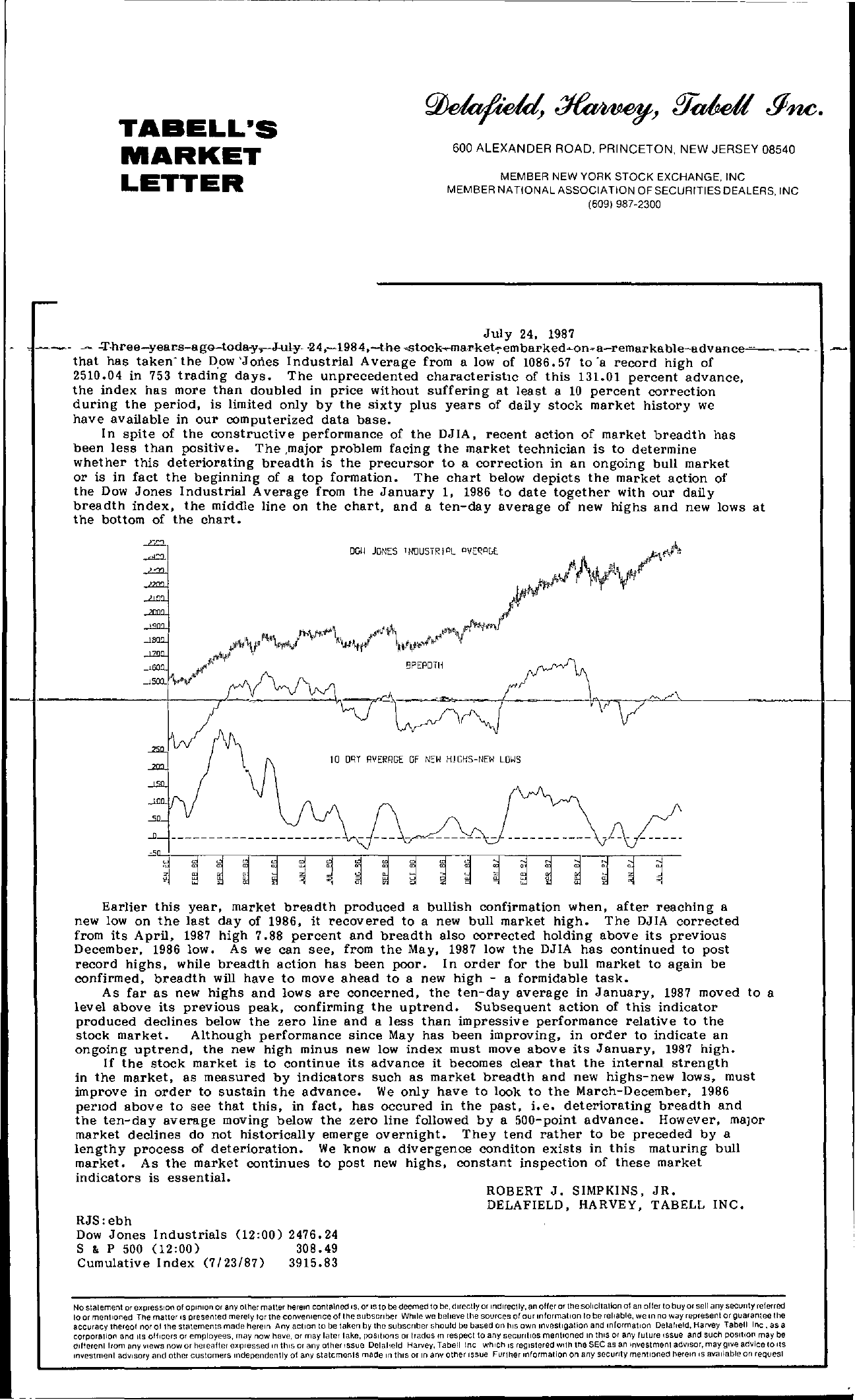 Tabell's Market Letter - July 24, 1987