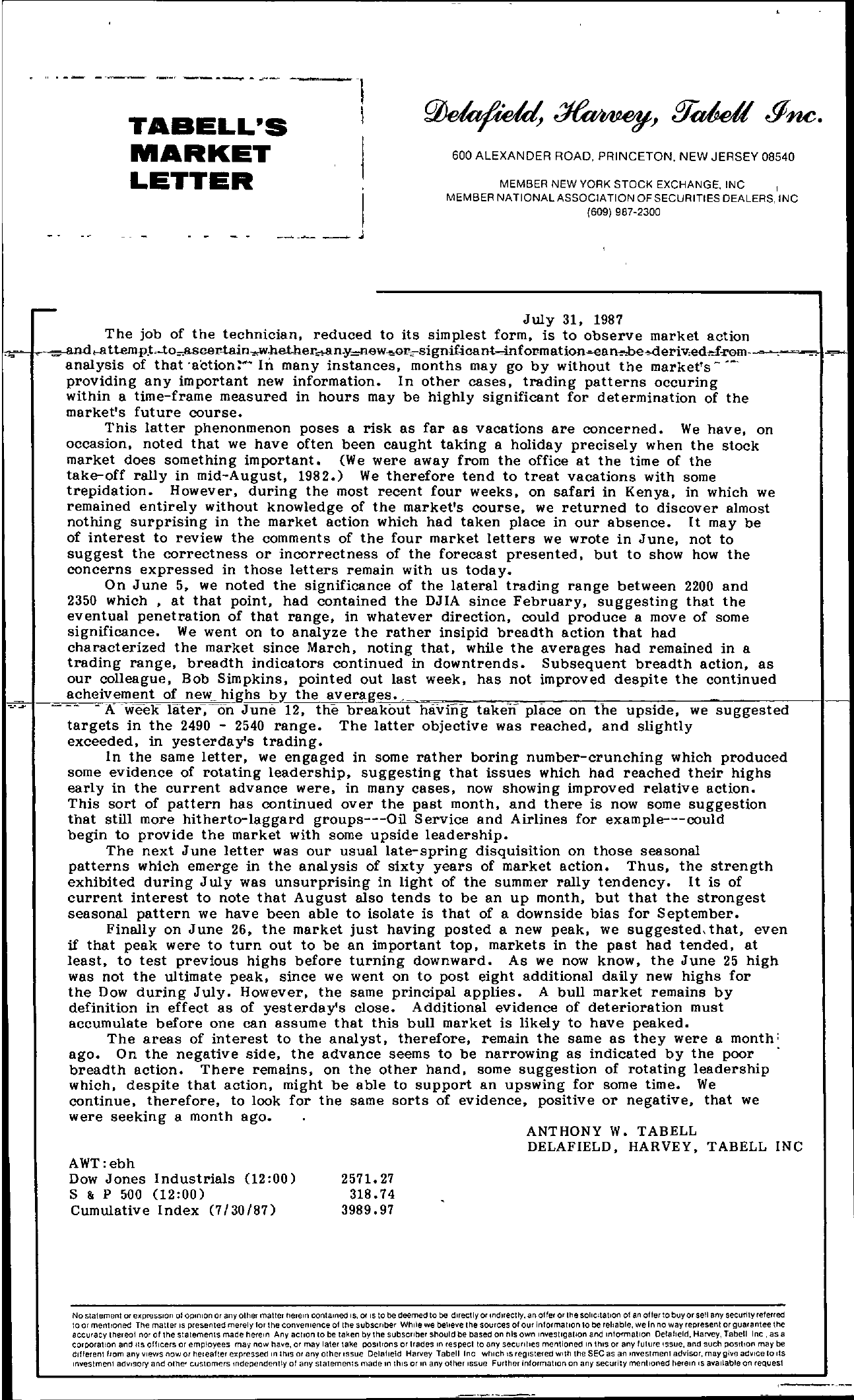 Tabell's Market Letter - July 31, 1987