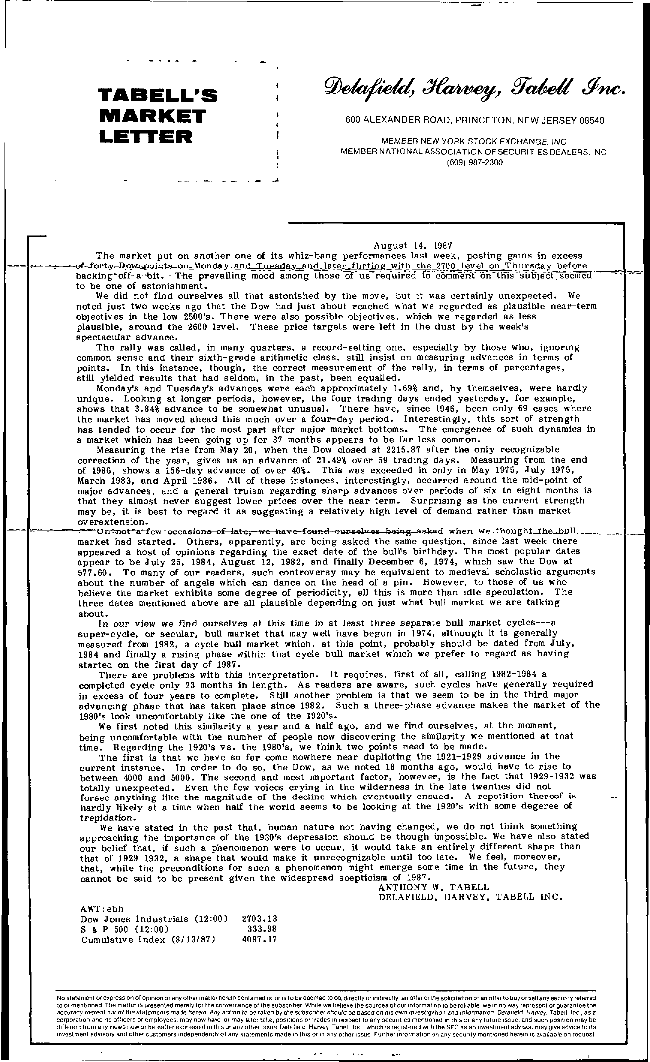 Tabell's Market Letter - August 14, 1987