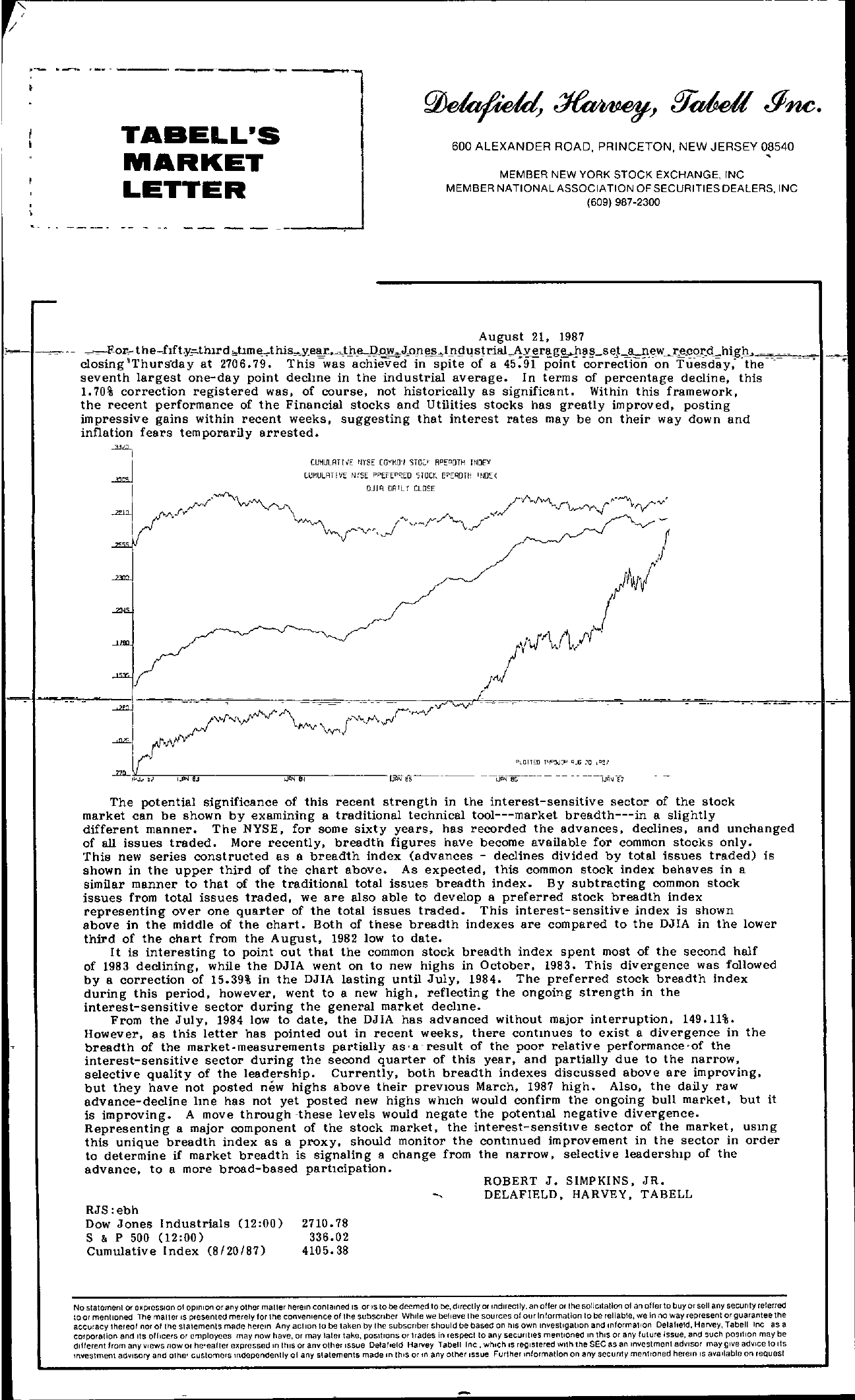 Tabell's Market Letter - August 21, 1987