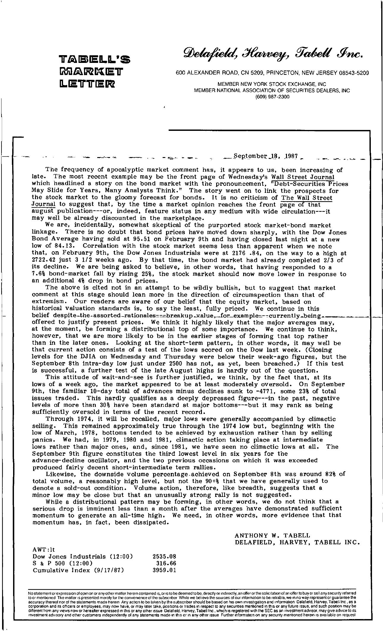 Tabell's Market Letter - September 18, 1987