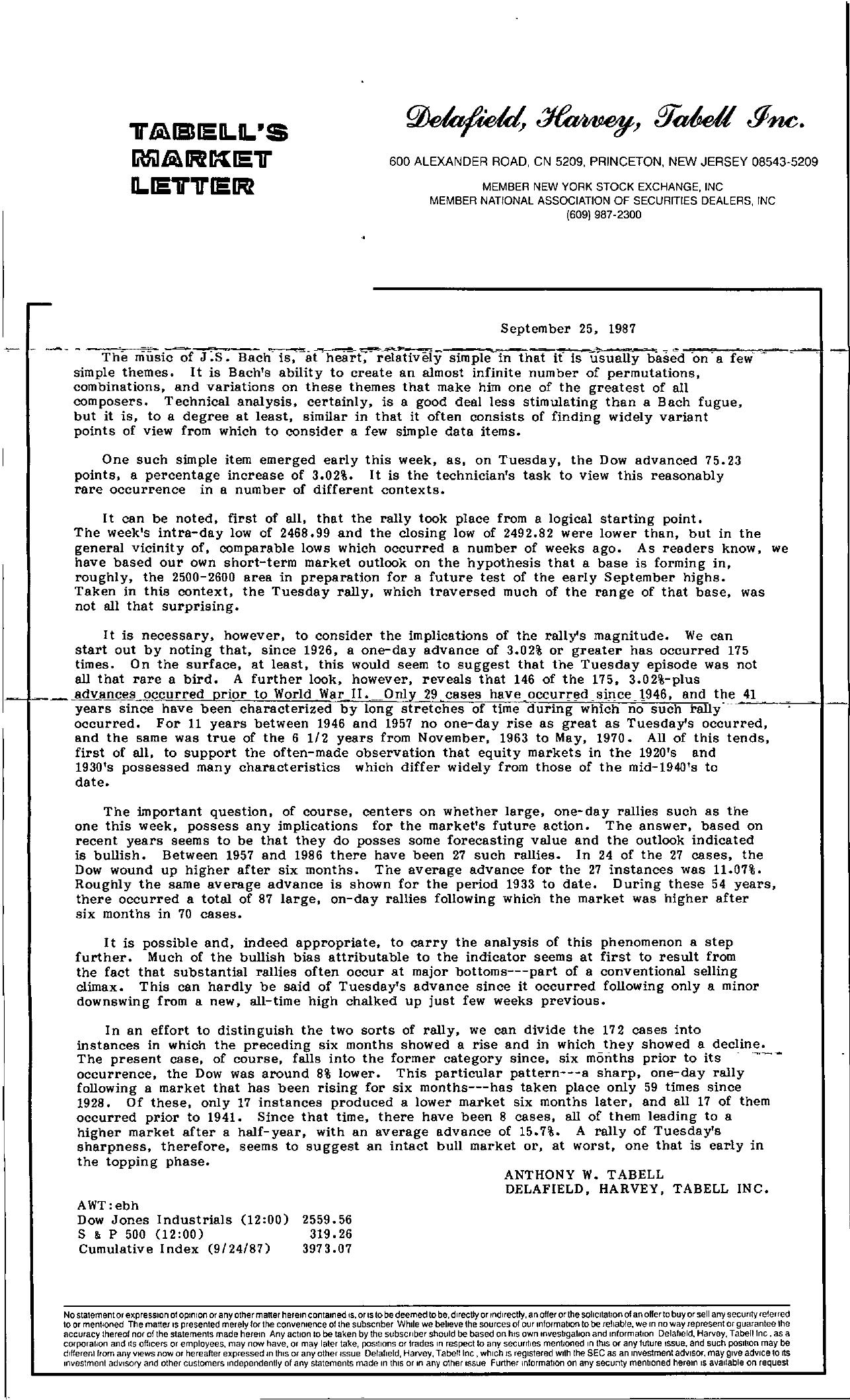 Tabell's Market Letter - September 25, 1987