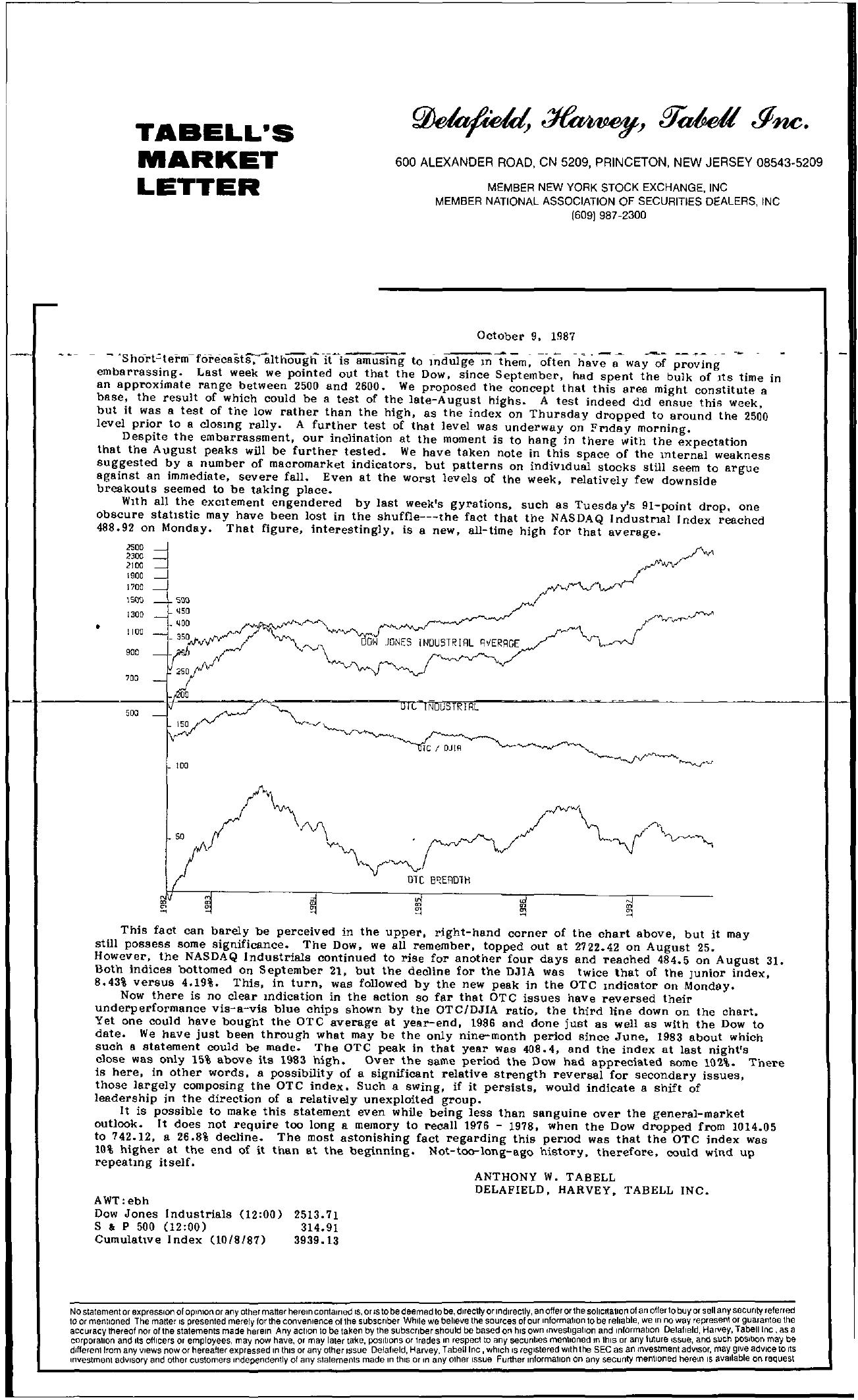 Tabell's Market Letter - October 09, 1987