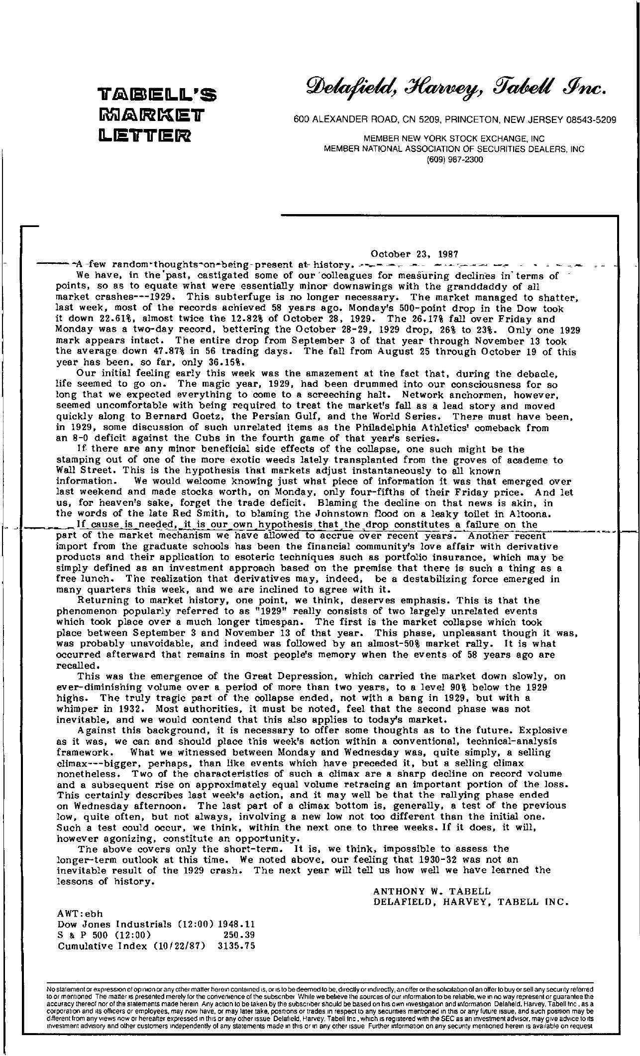 Tabell's Market Letter - October 23, 1987
