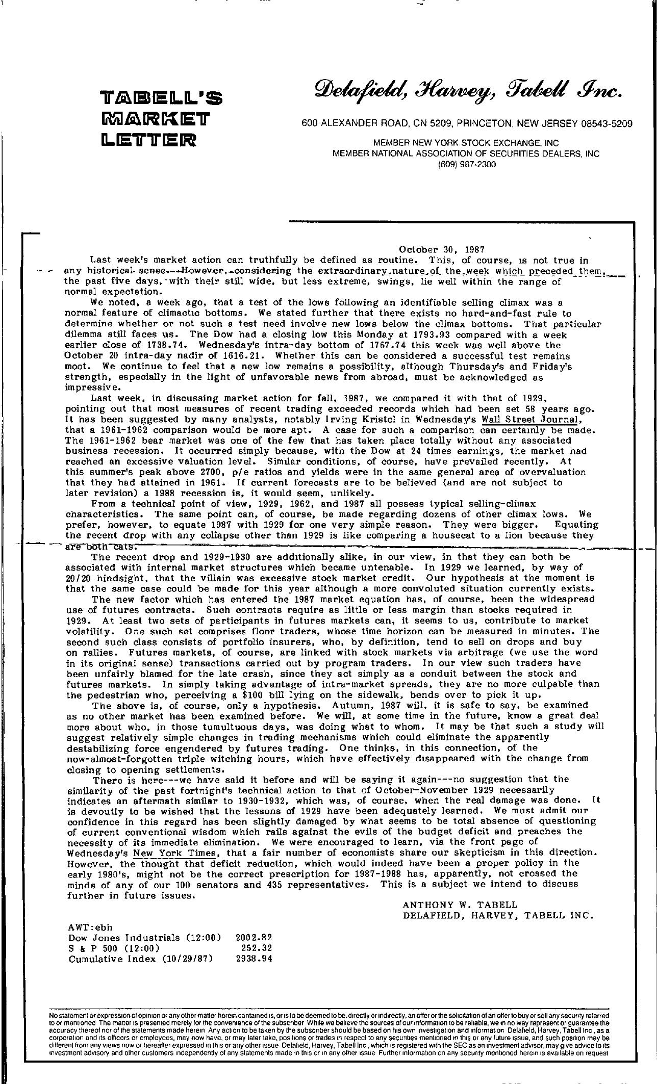 Tabell's Market Letter - October 30, 1987