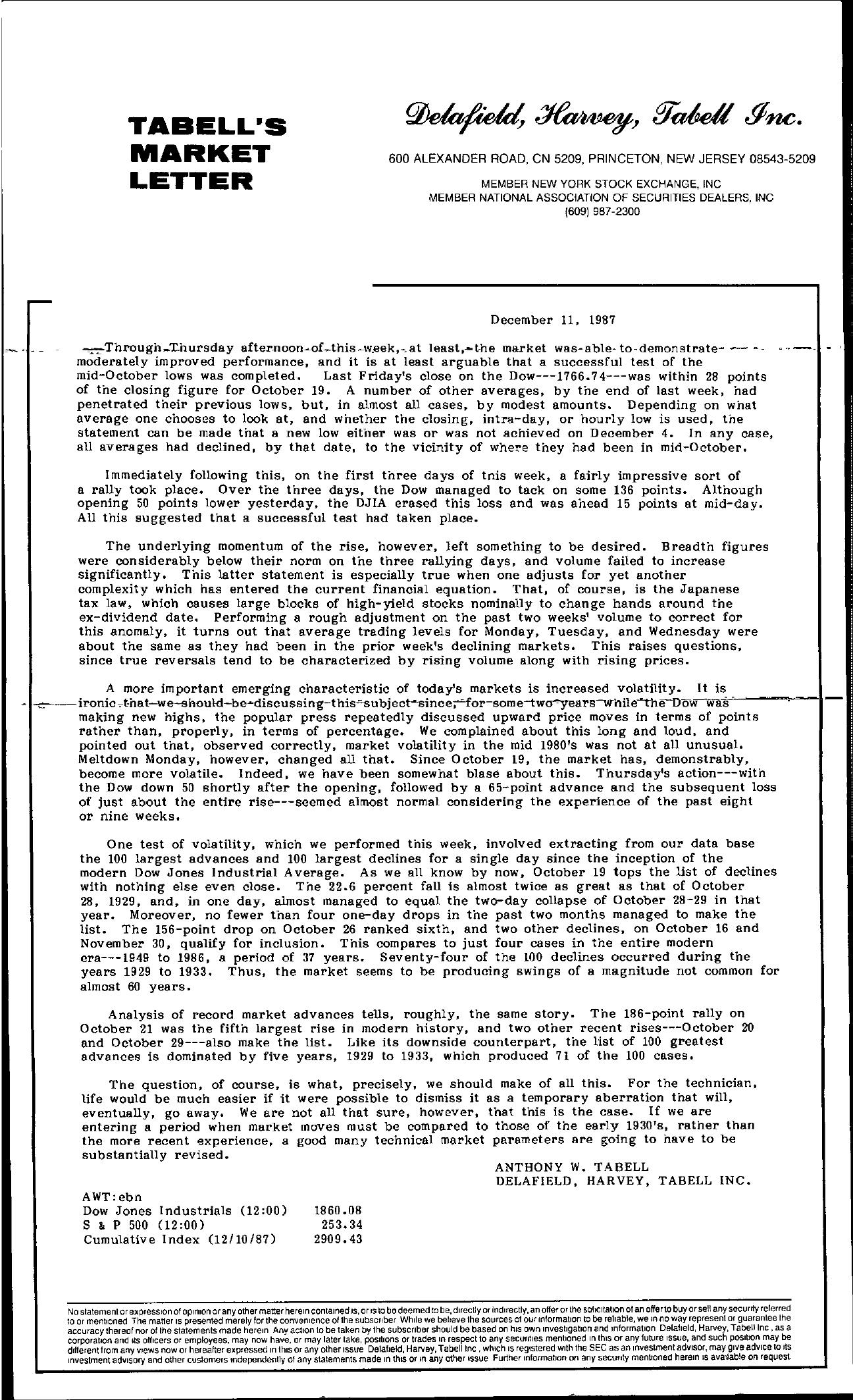 Tabell's Market Letter - December 11, 1987