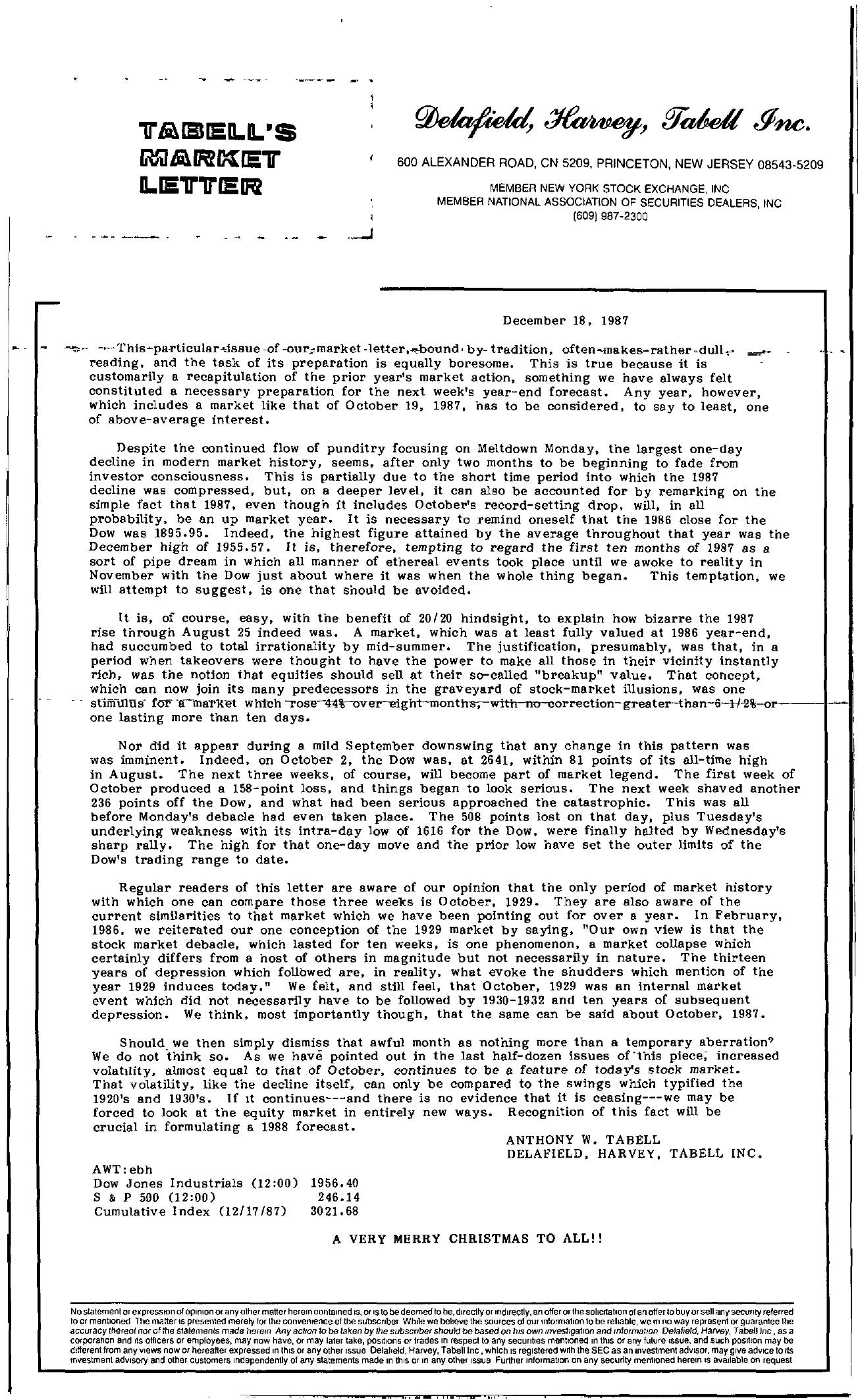 Tabell's Market Letter - December 18, 1987
