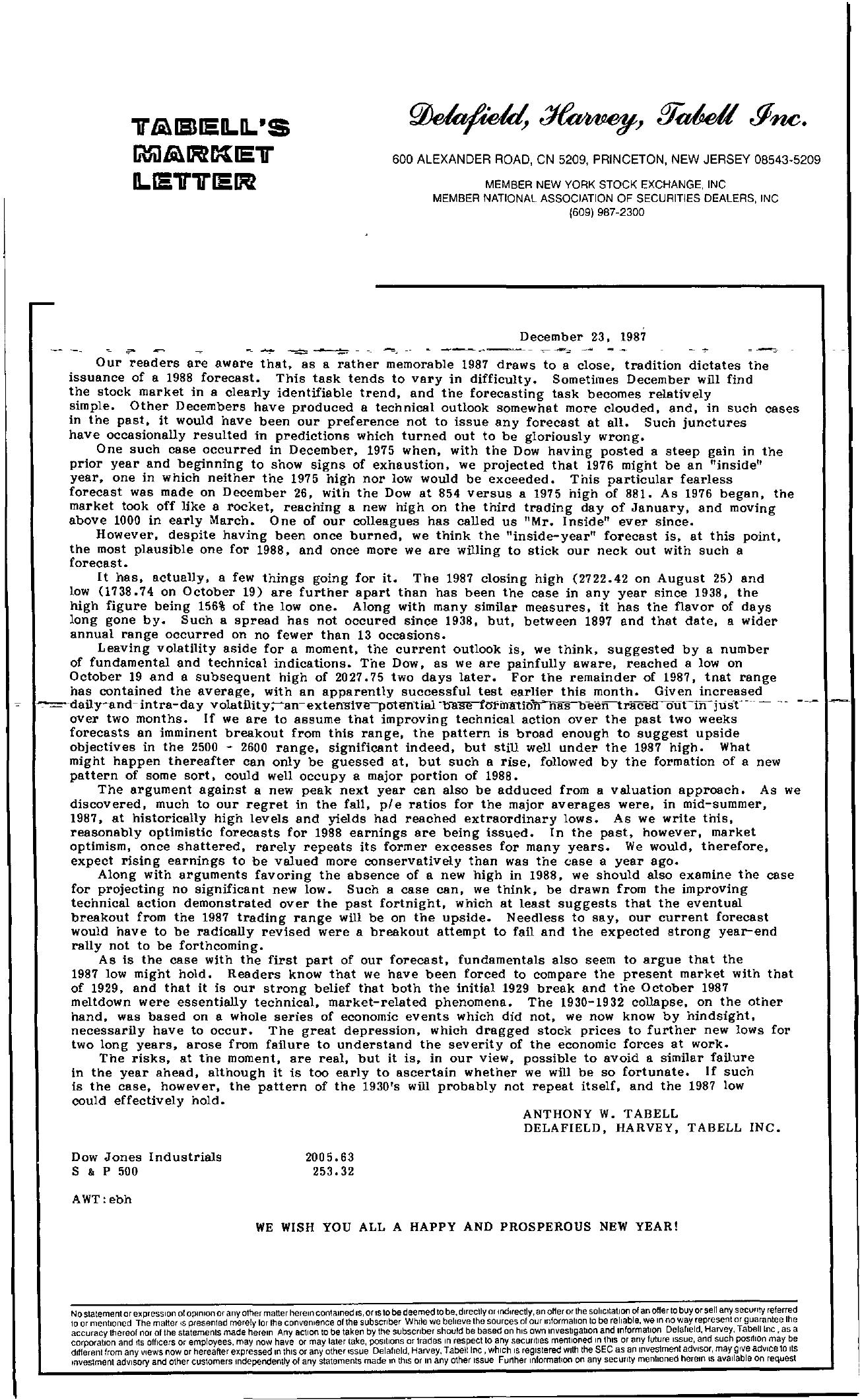 Tabell's Market Letter - December 23, 1987