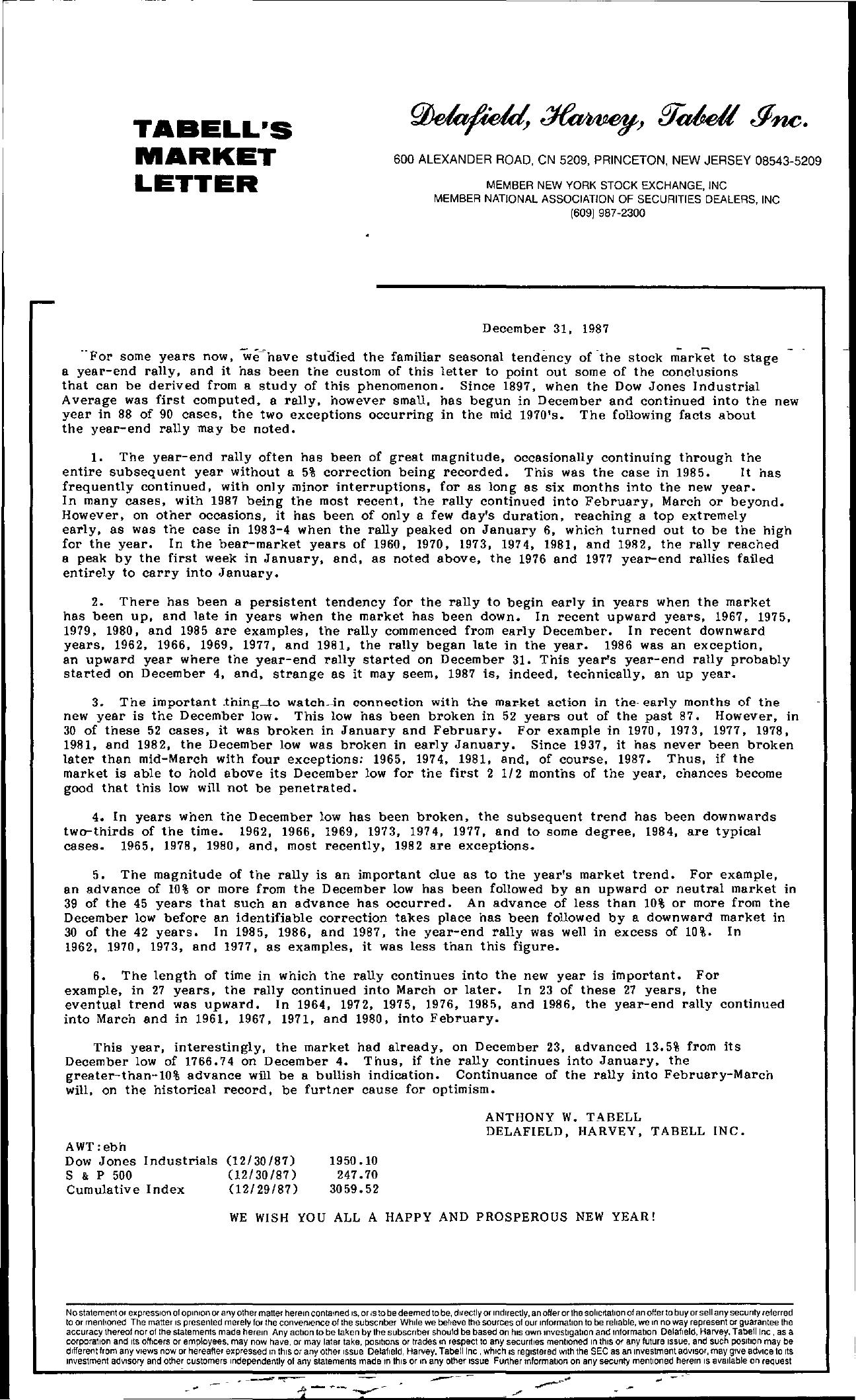 Tabell's Market Letter - December 31, 1987