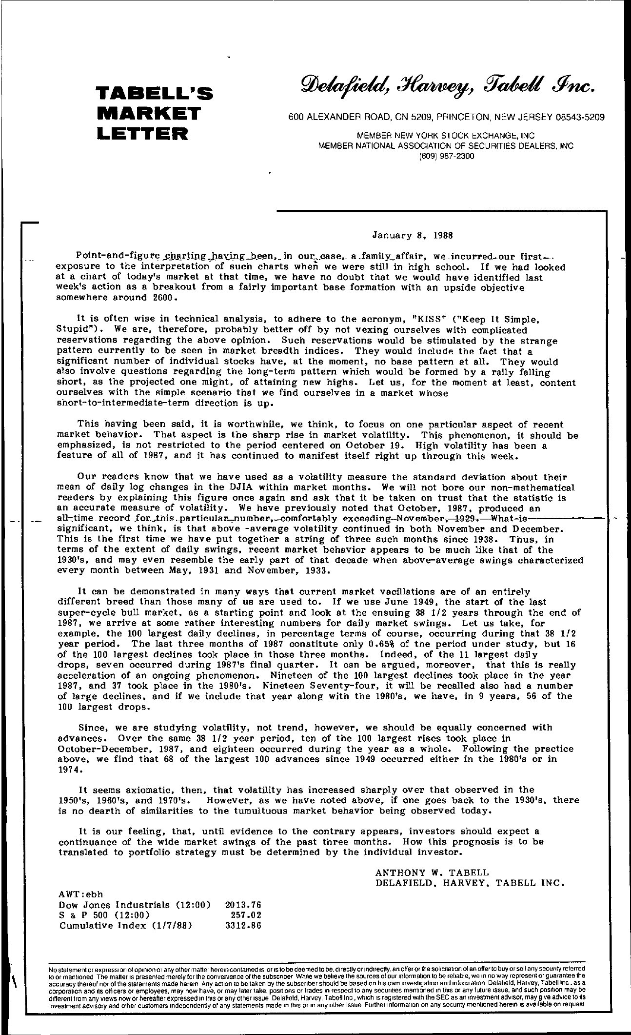 Tabell's Market Letter - January 08, 1988