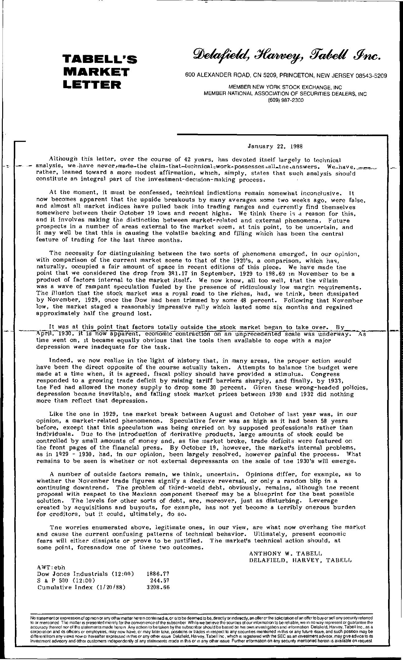 Tabell's Market Letter - January 22, 1988