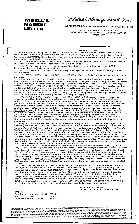 Tabell's Market Letter - January 29, 1988