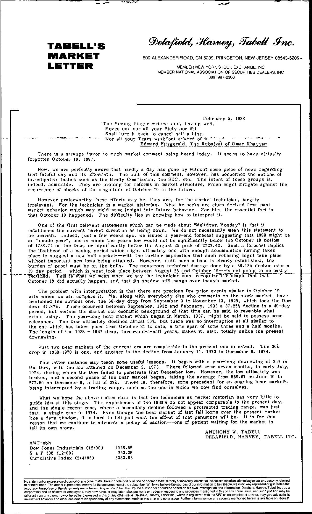 Tabell's Market Letter - February 05, 1988