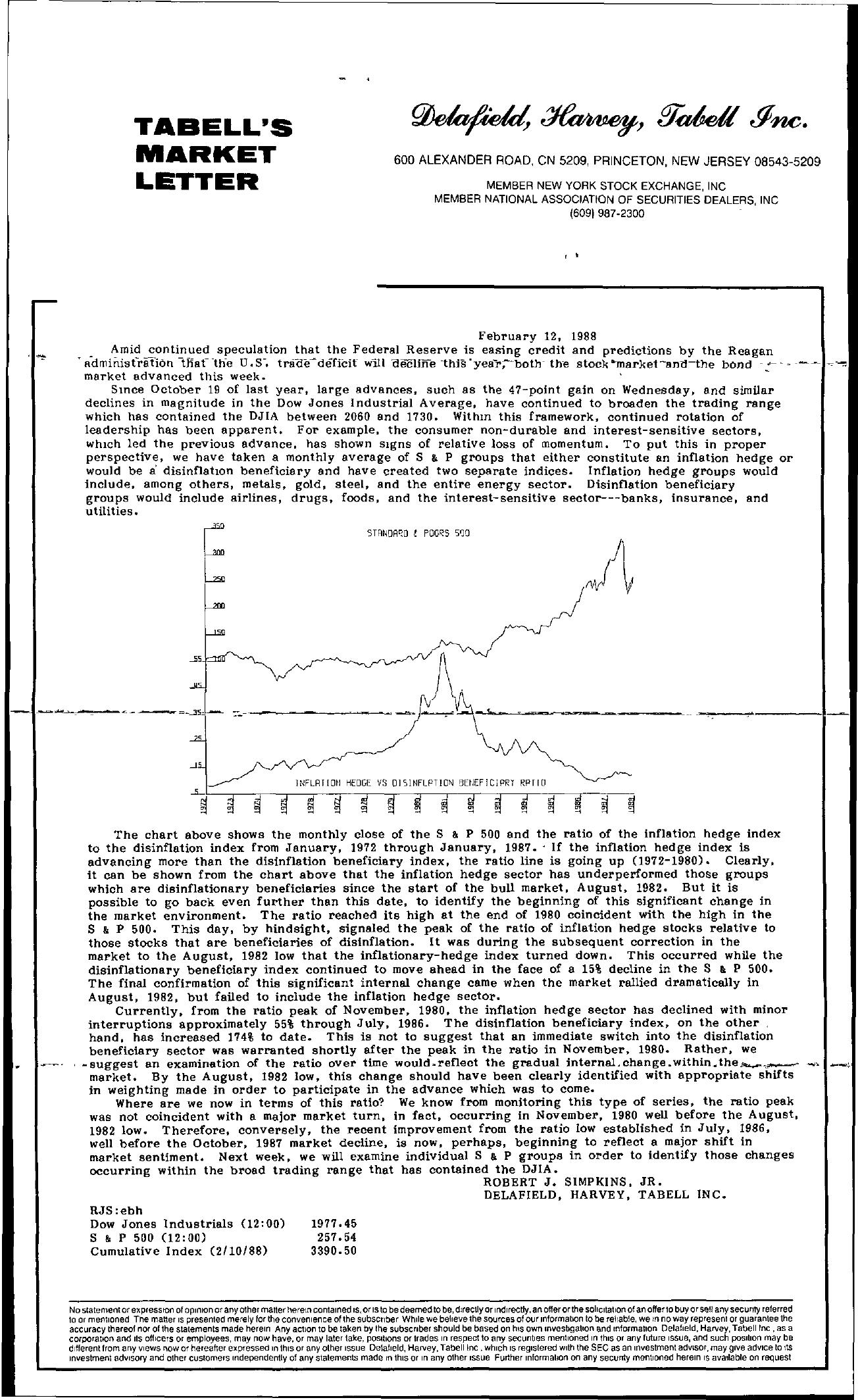 Tabell's Market Letter - February 12, 1988