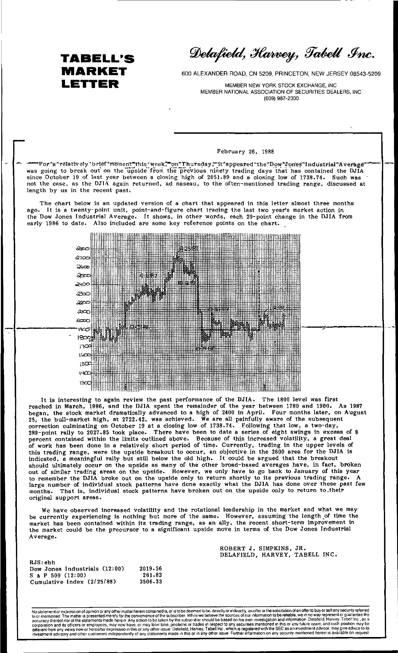 Tabell's Market Letter - February 26, 1988
