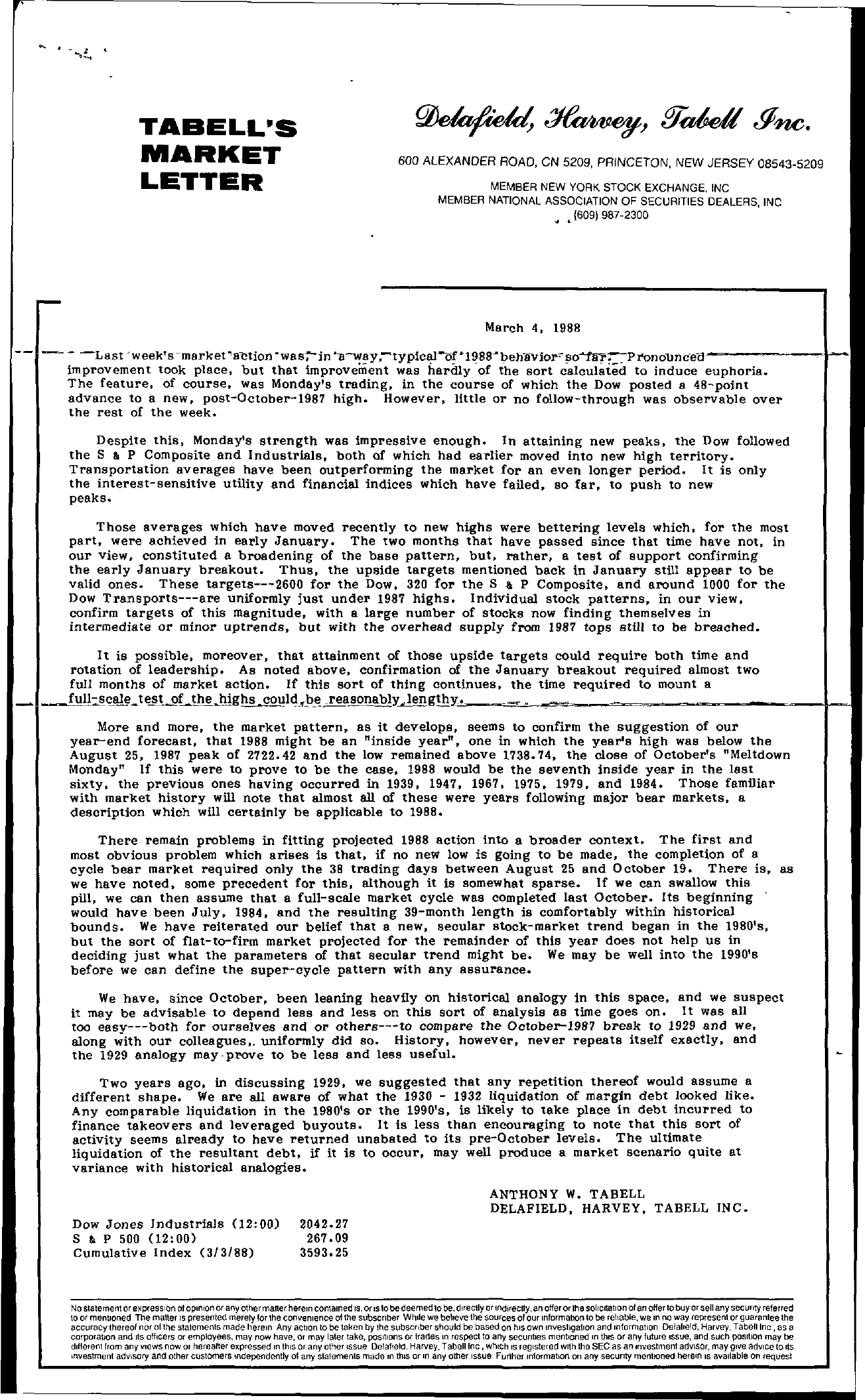 Tabell's Market Letter - March 04, 1988