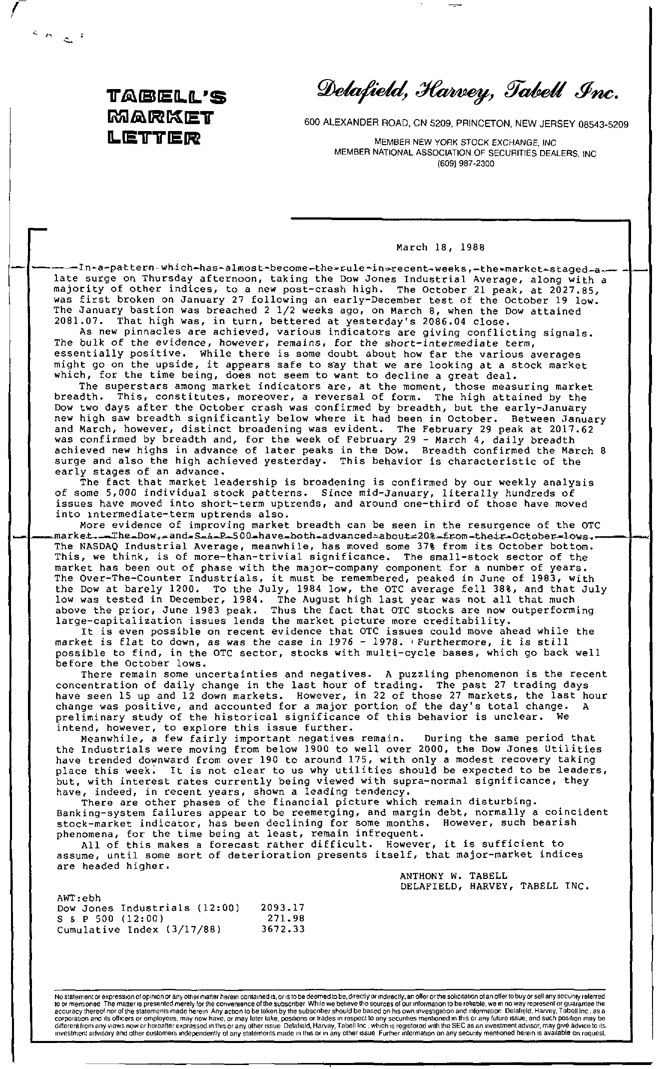 Tabell's Market Letter - March 18, 1988