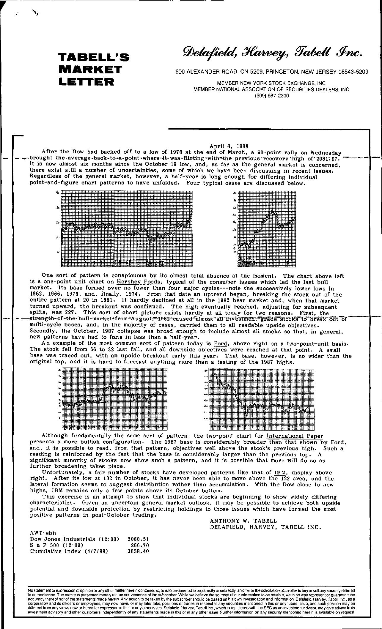Tabell's Market Letter - April 08, 1988