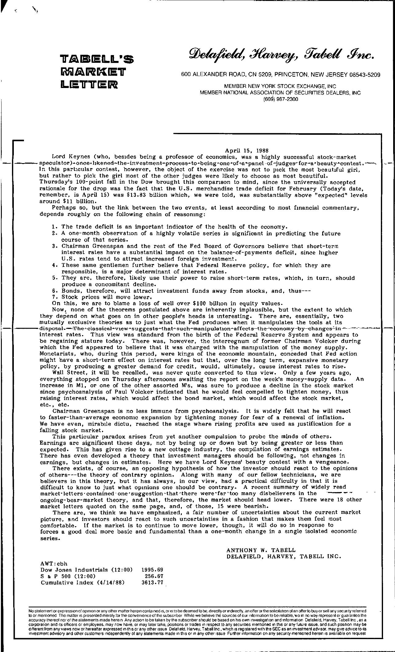 Tabell's Market Letter - April 15, 1988