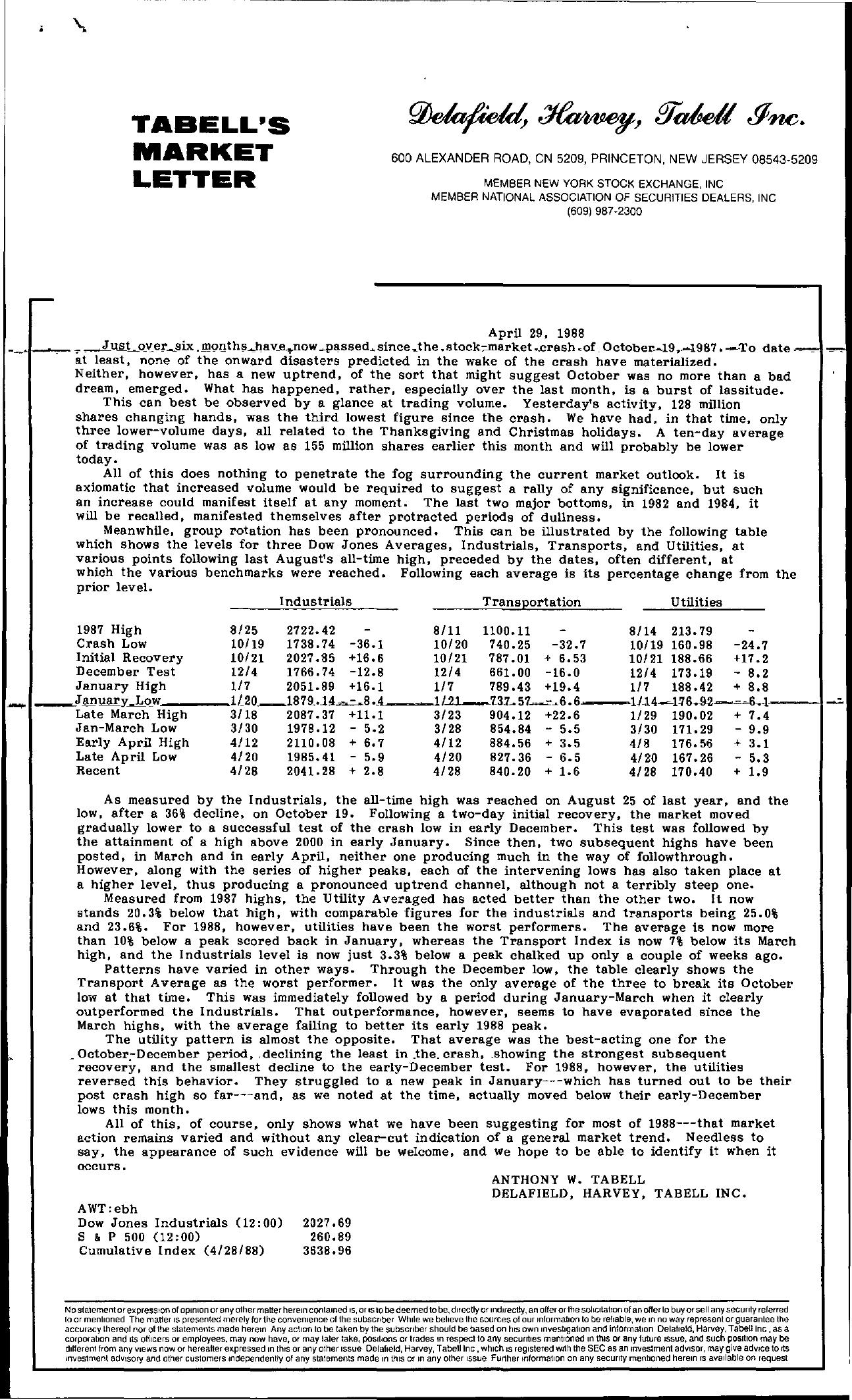 Tabell's Market Letter - April 29, 1988