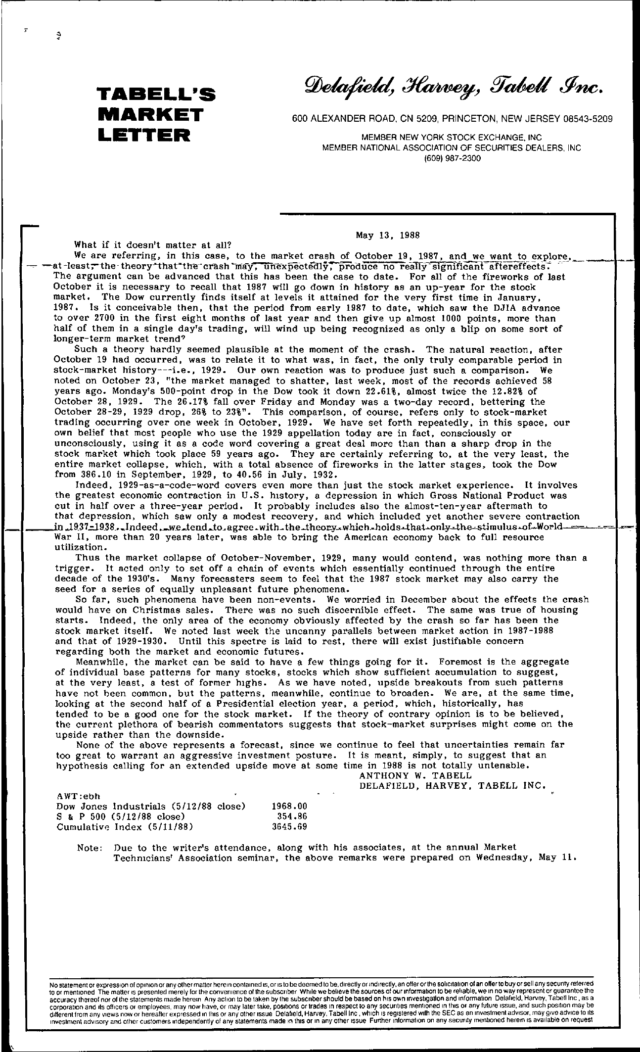 Tabell's Market Letter - May 13, 1988