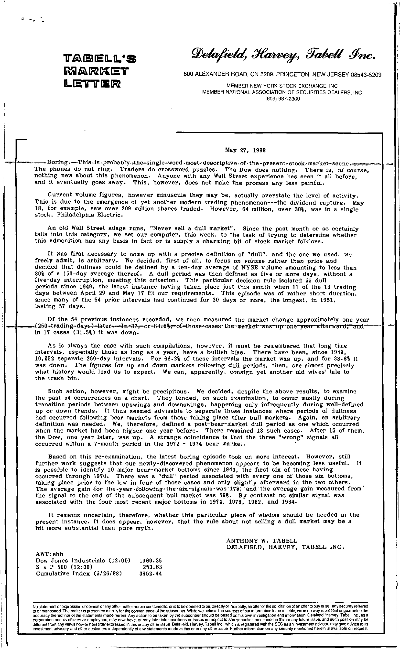 Tabell's Market Letter - May 27, 1988