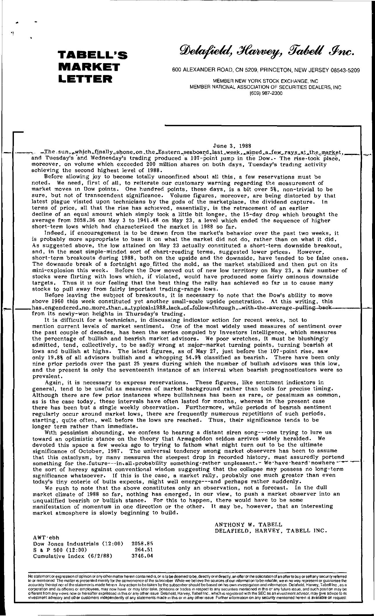 Tabell's Market Letter - June 03, 1988