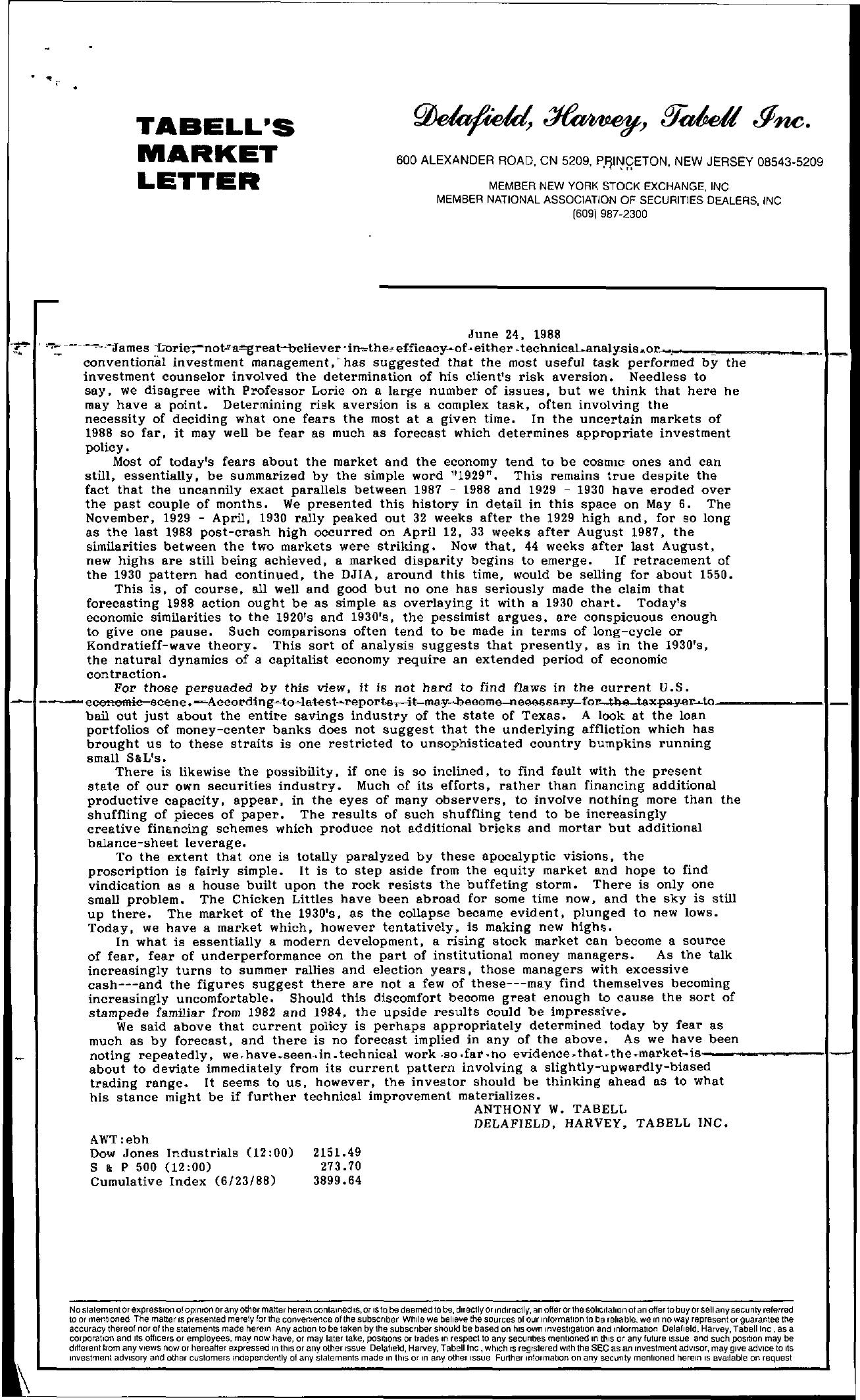 Tabell's Market Letter - June 24, 1988