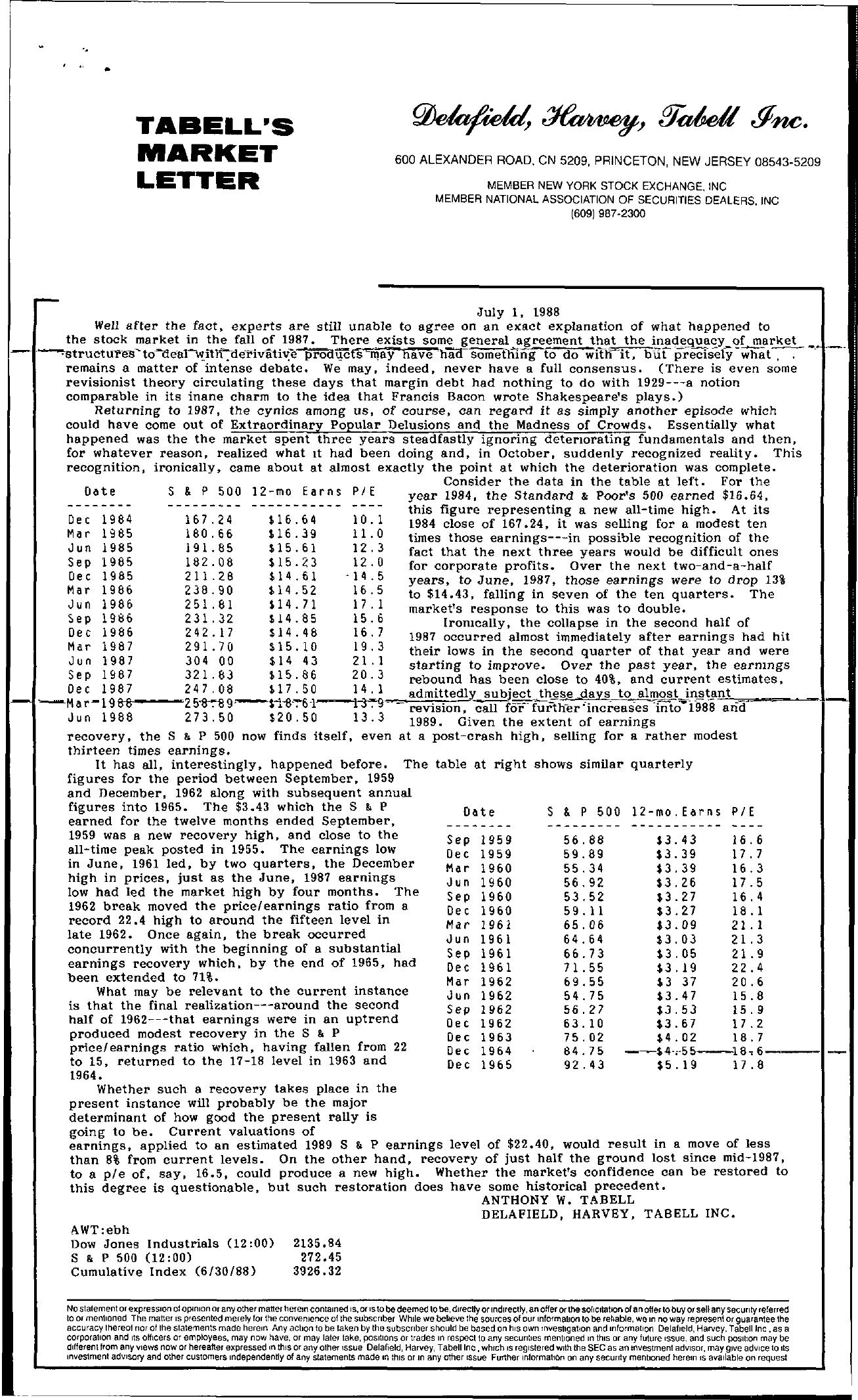 Tabell's Market Letter - July 01, 1988