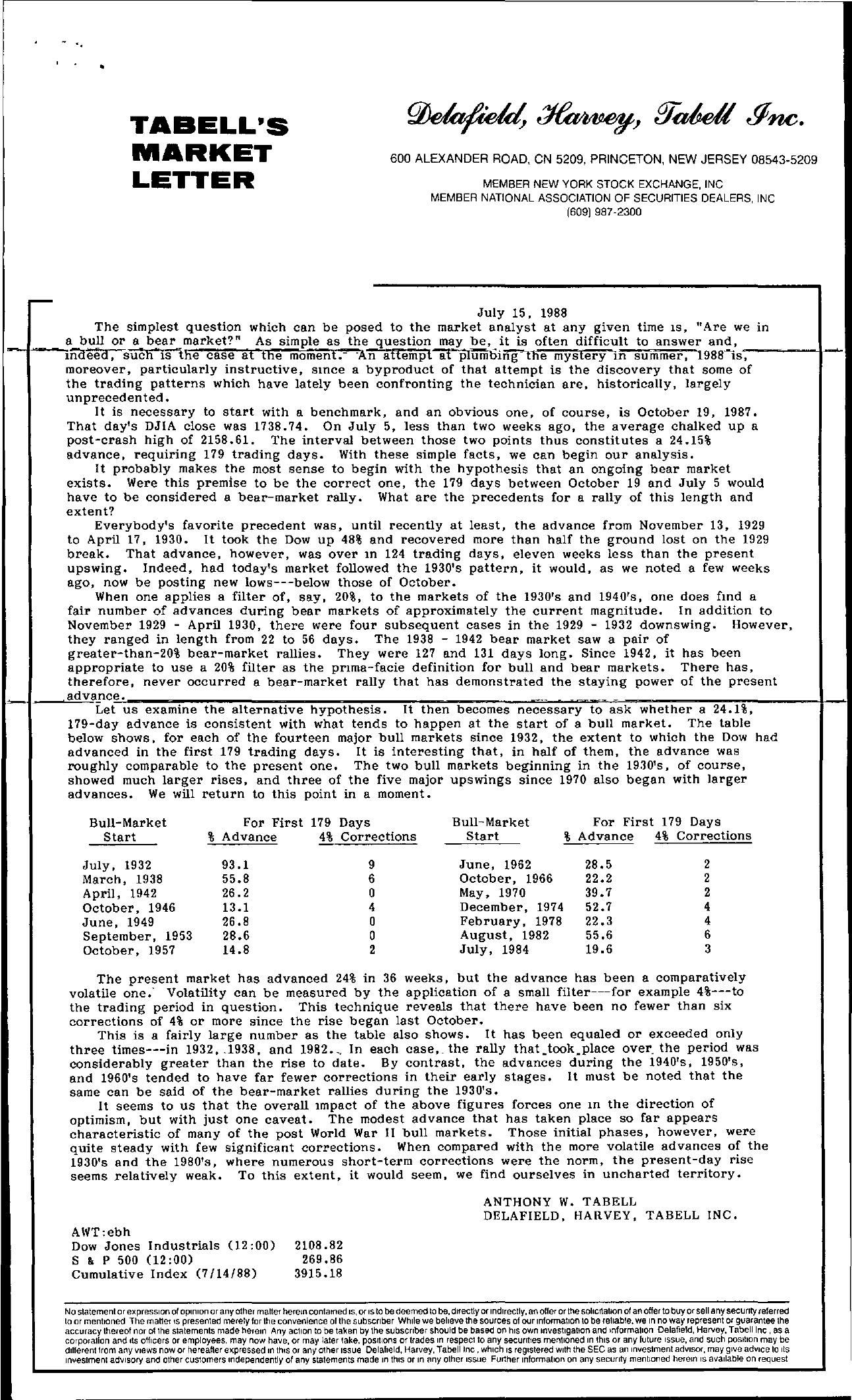 Tabell's Market Letter - July 15, 1988