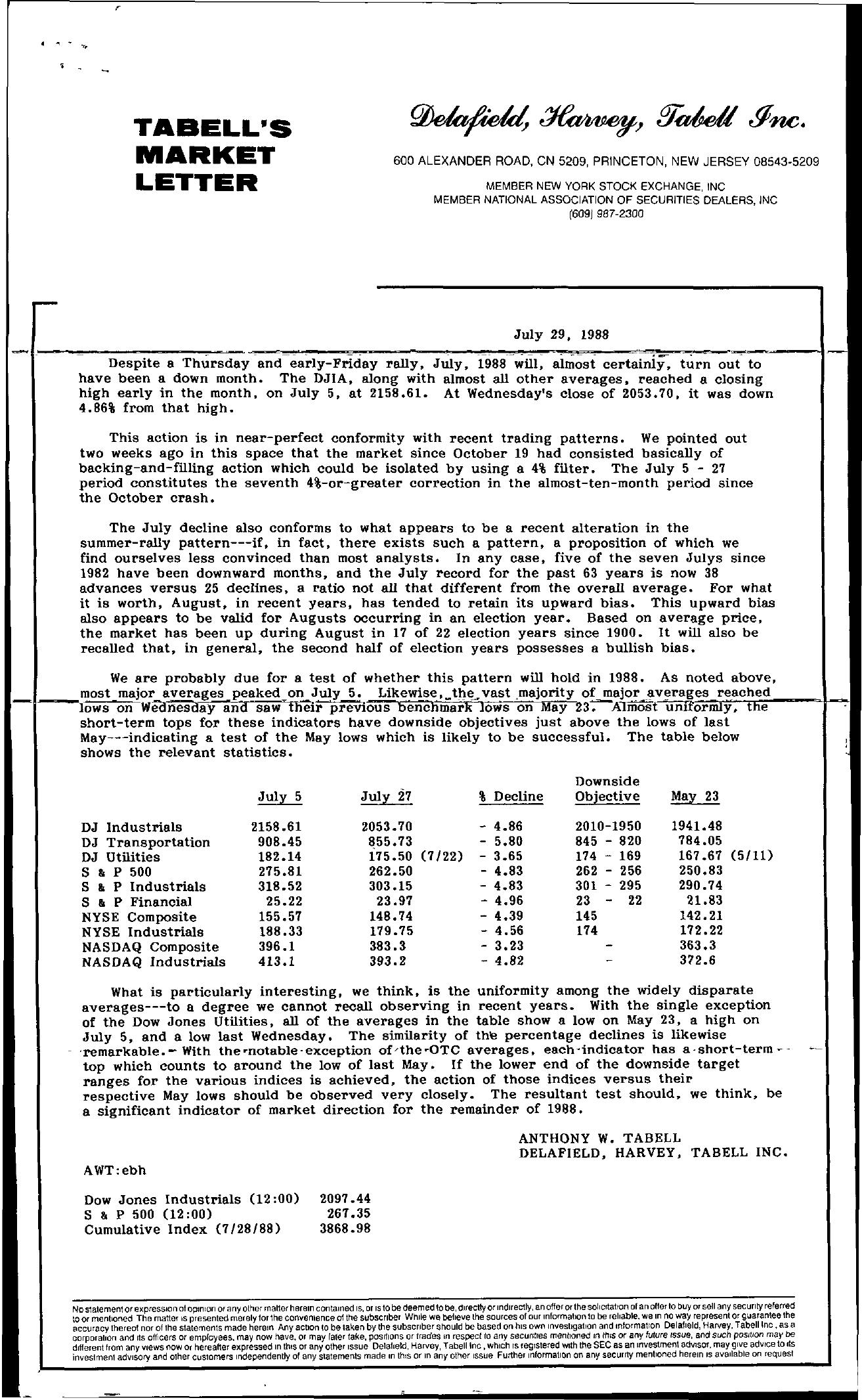 Tabell's Market Letter - July 29, 1988