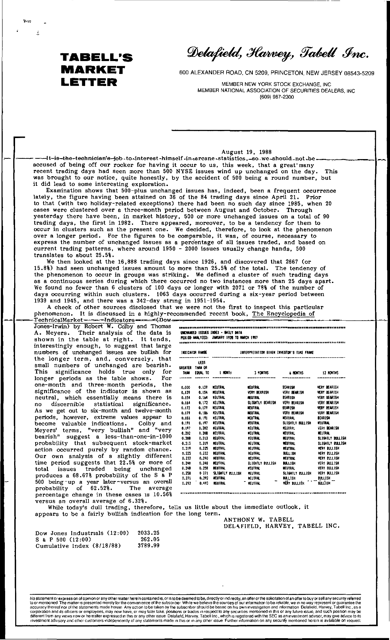 Tabell's Market Letter - August 19, 1988