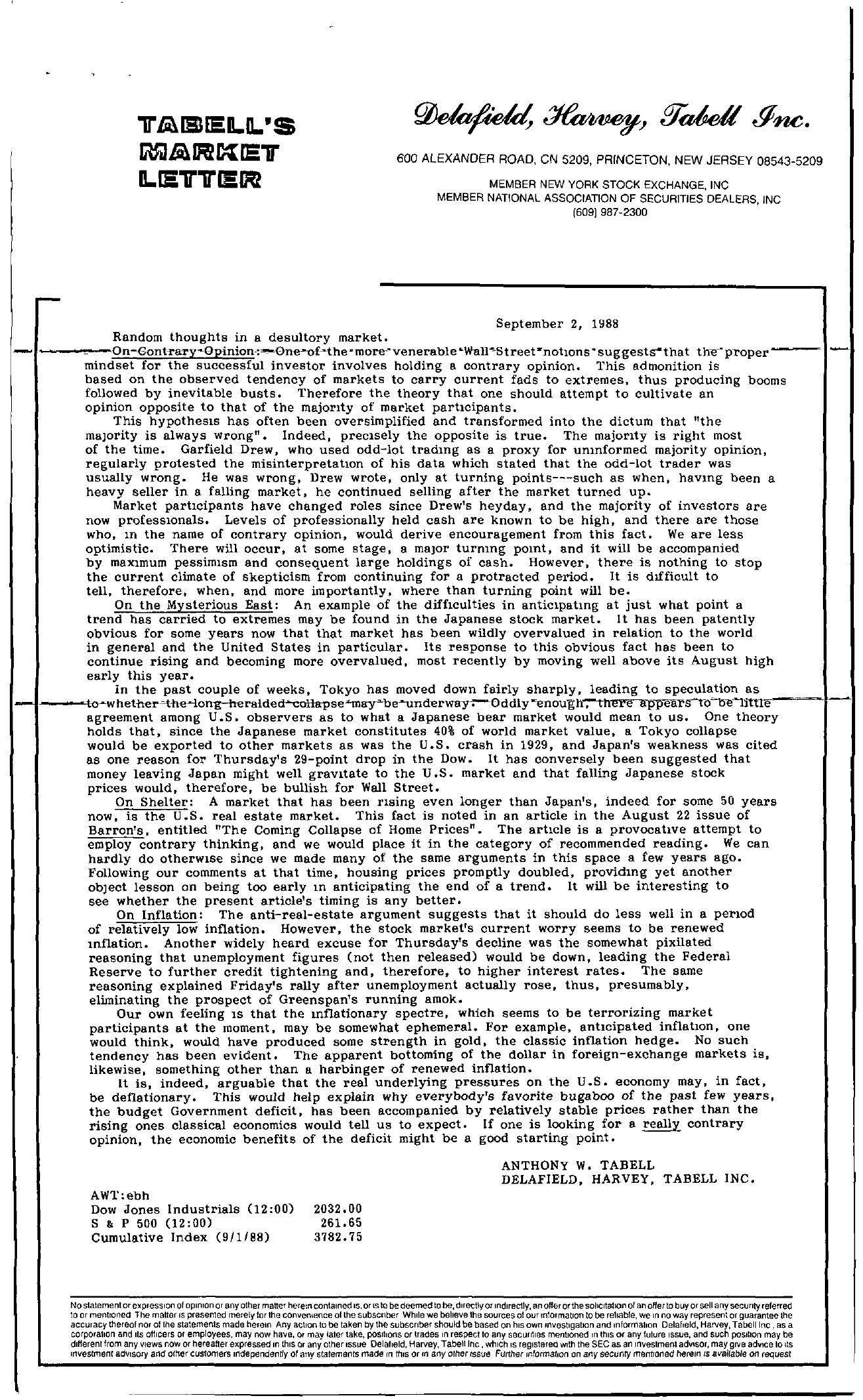 Tabell's Market Letter - September 02, 1988