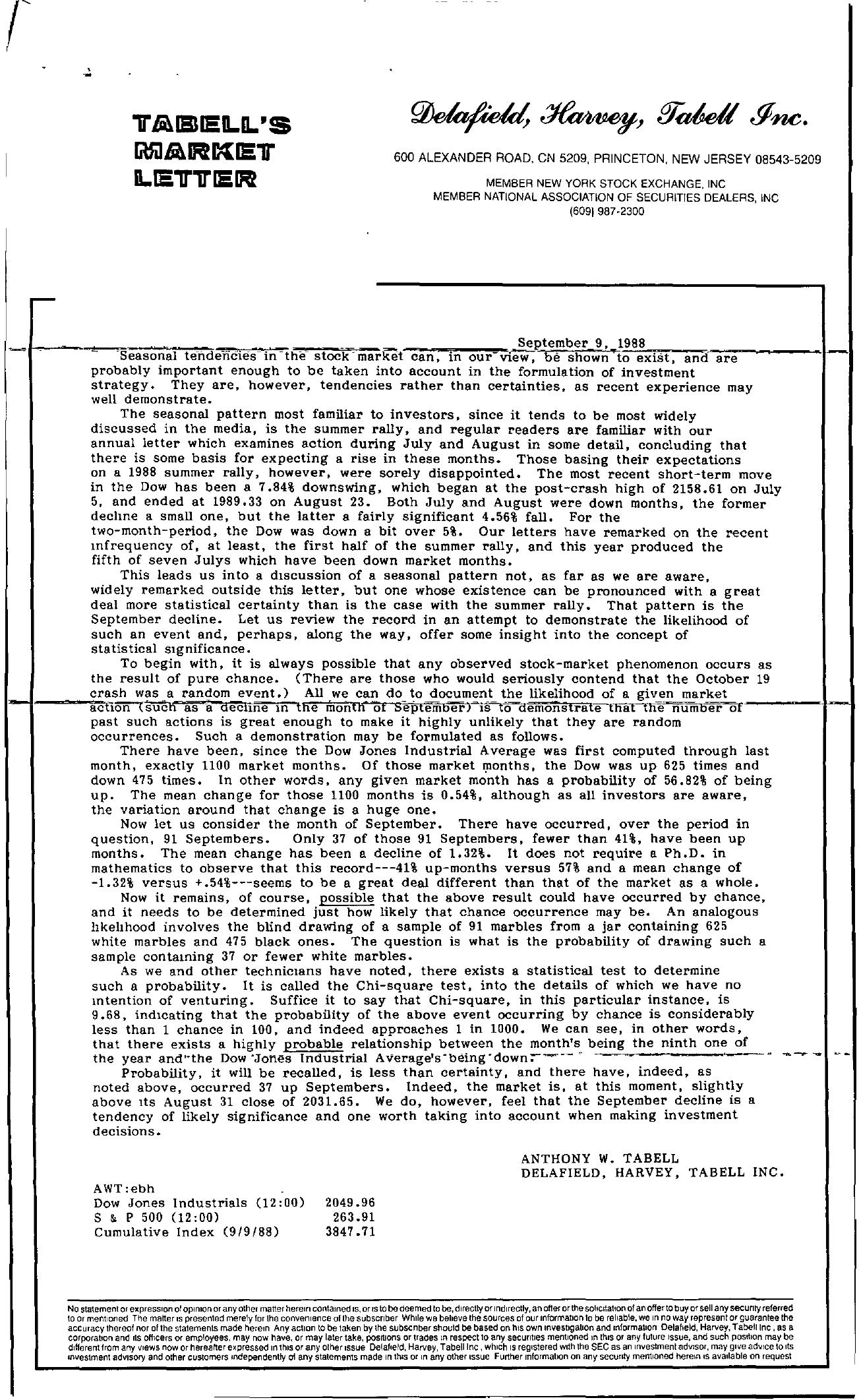 Tabell's Market Letter - September 09, 1988