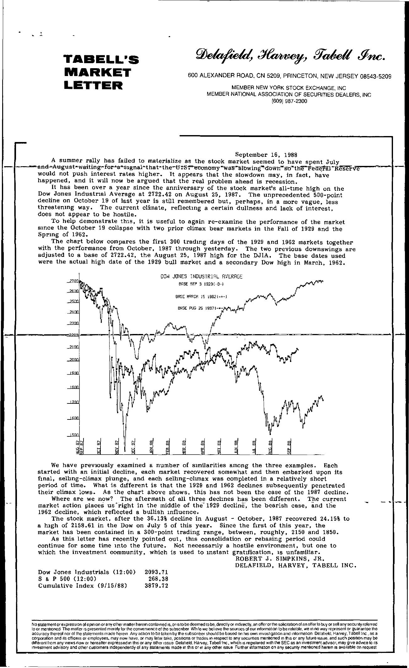Tabell's Market Letter - September 16, 1988