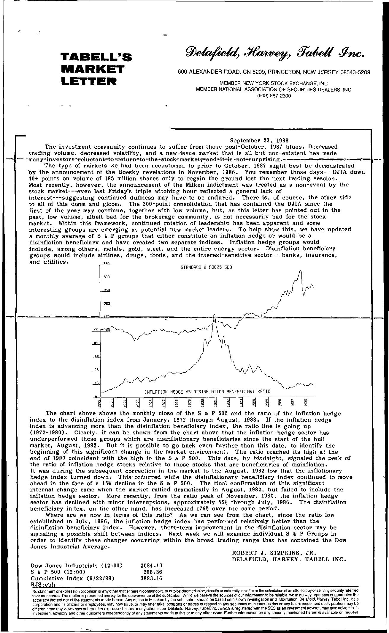 Tabell's Market Letter - September 23, 1988