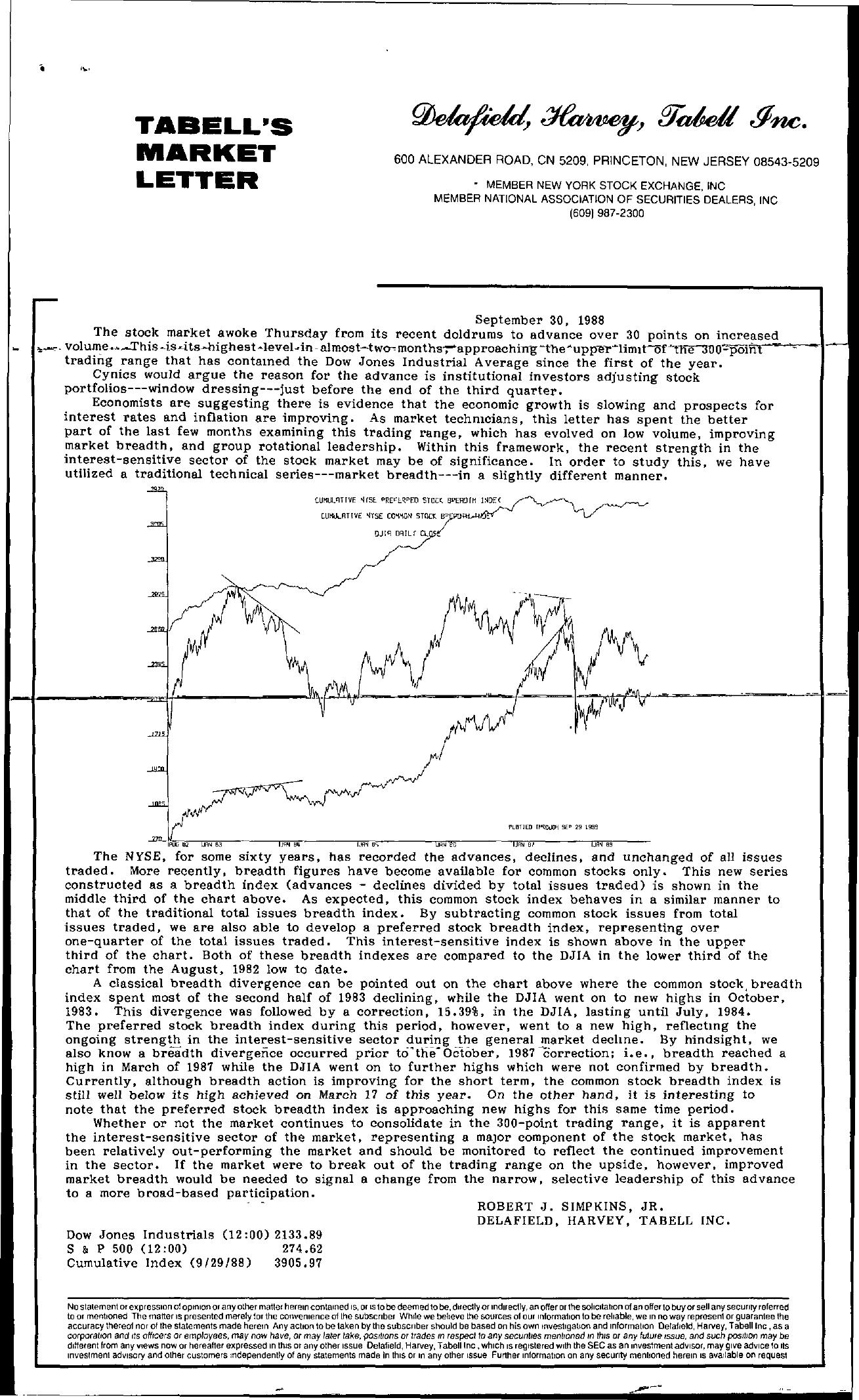 Tabell's Market Letter - September 30, 1988