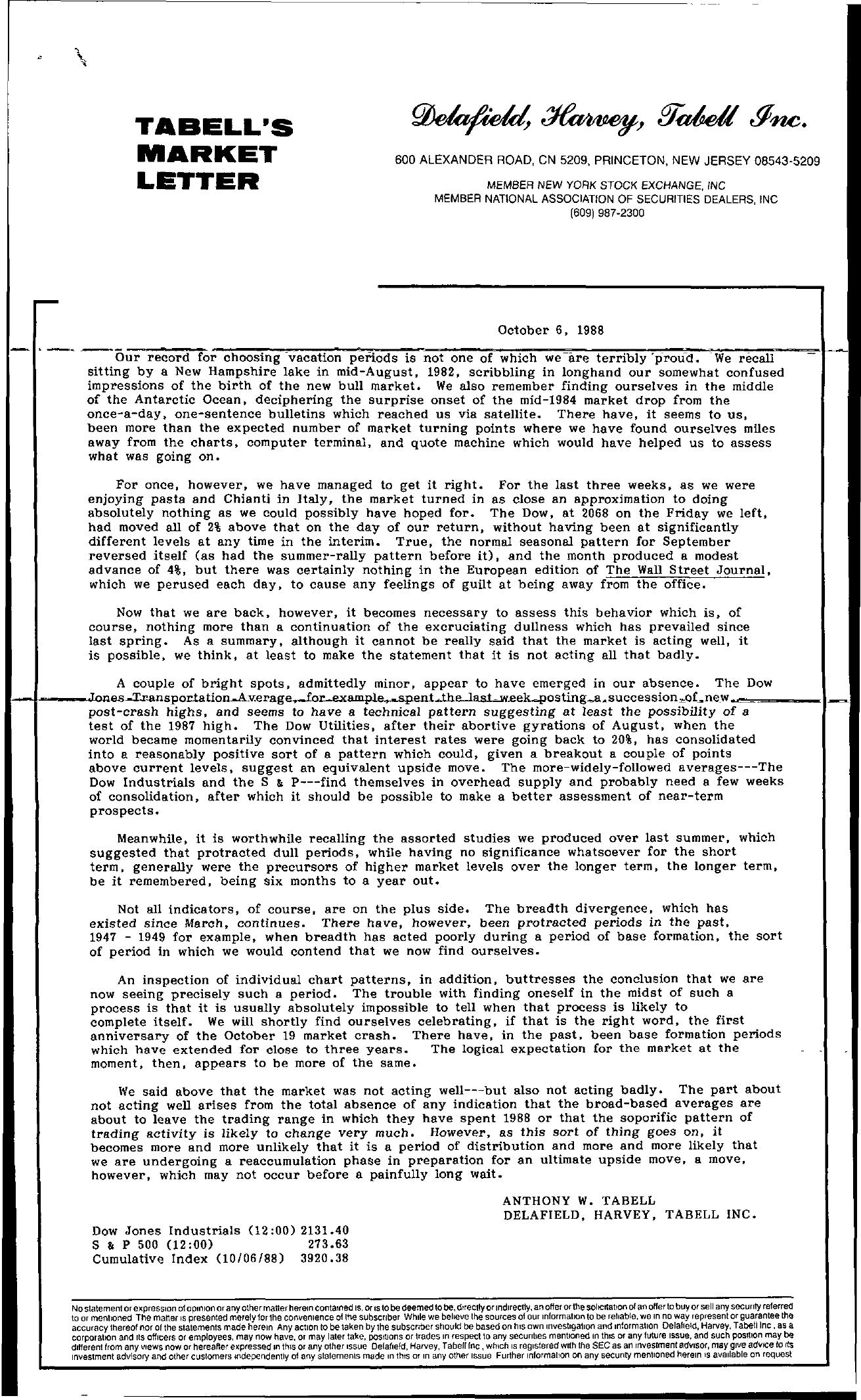 Tabell's Market Letter - October 06, 1988