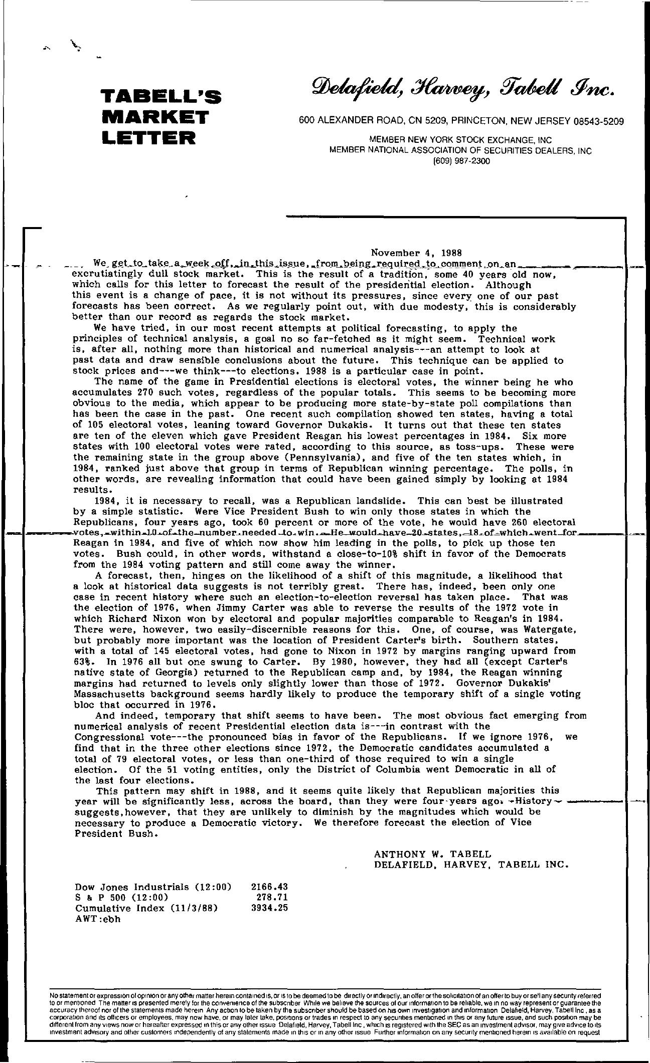 Tabell's Market Letter - November 04, 1988