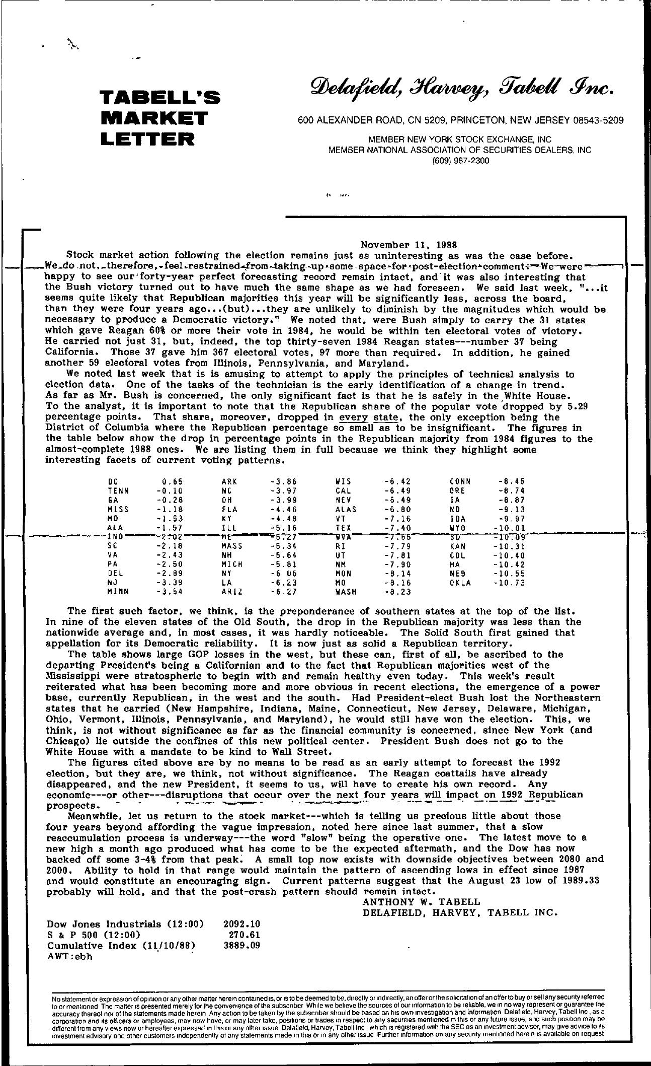 Tabell's Market Letter - November 11, 1988