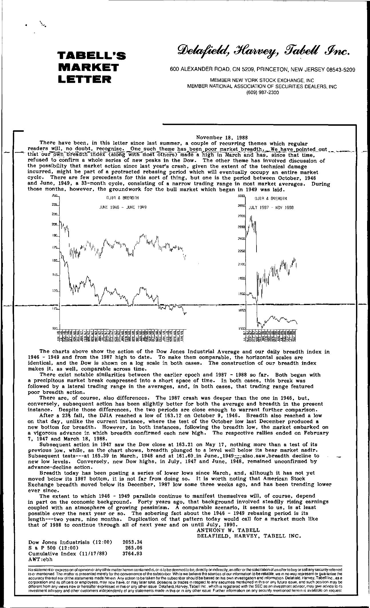 Tabell's Market Letter - November 18, 1988