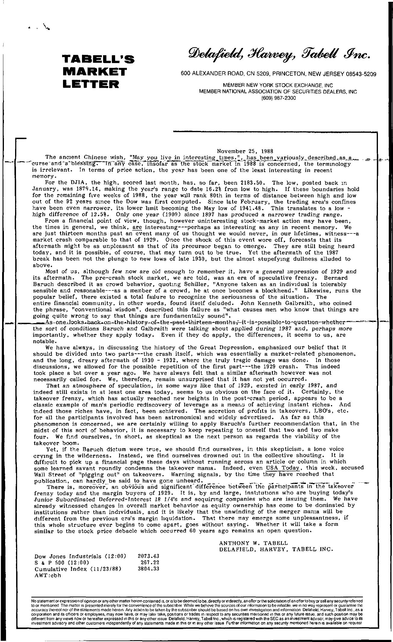 Tabell's Market Letter - November 25, 1988