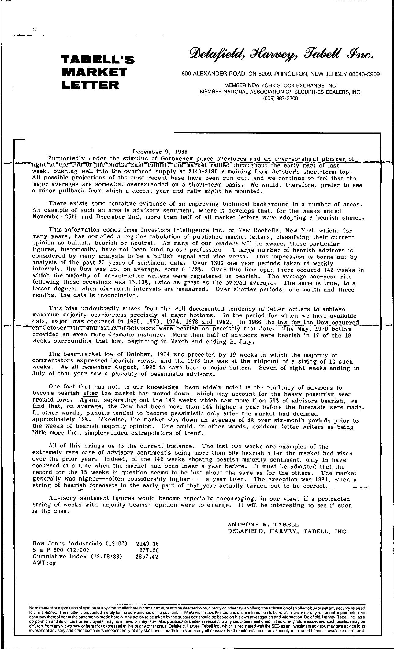 Tabell's Market Letter - December 09, 1988