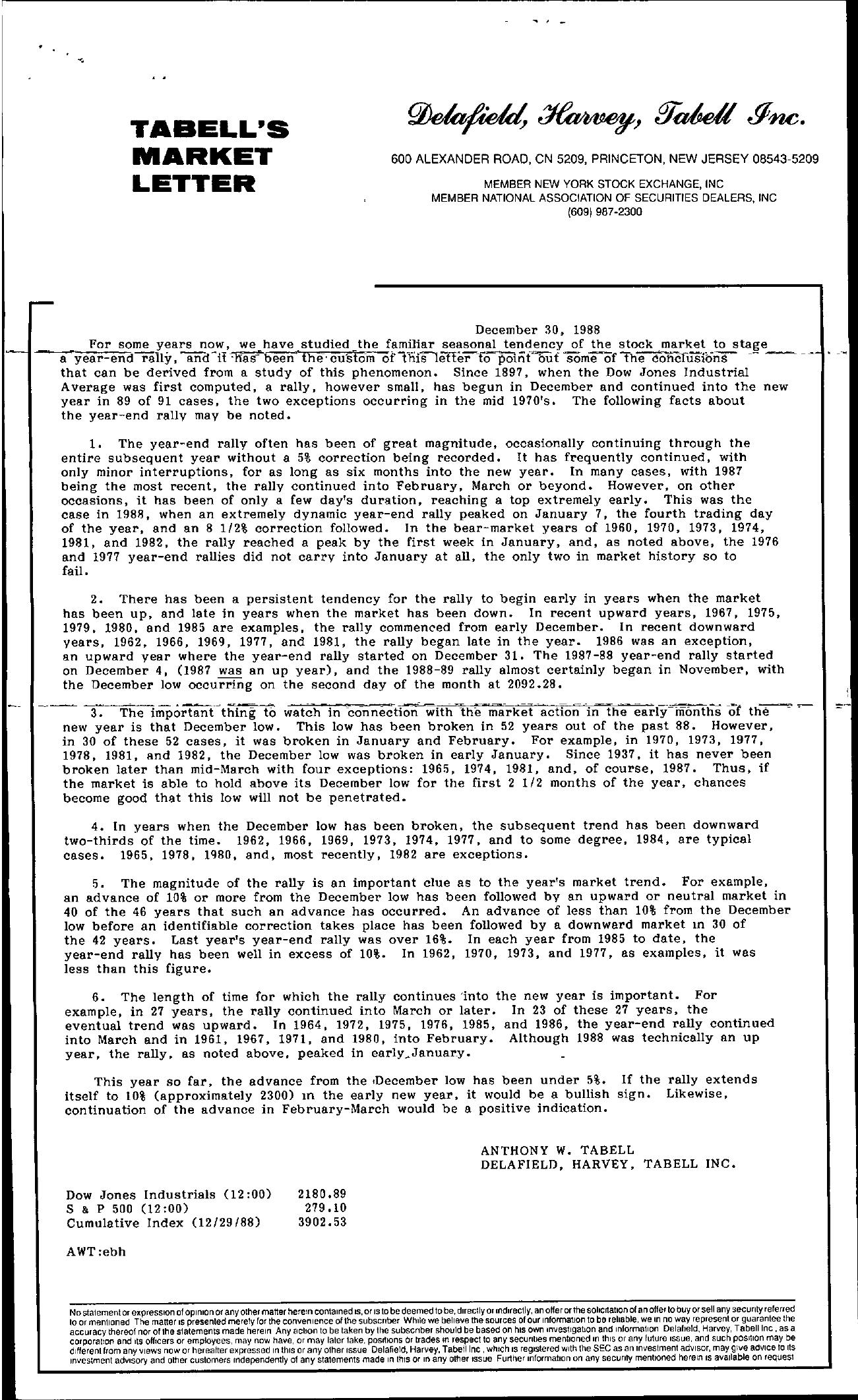 Tabell's Market Letter - December 30, 1988