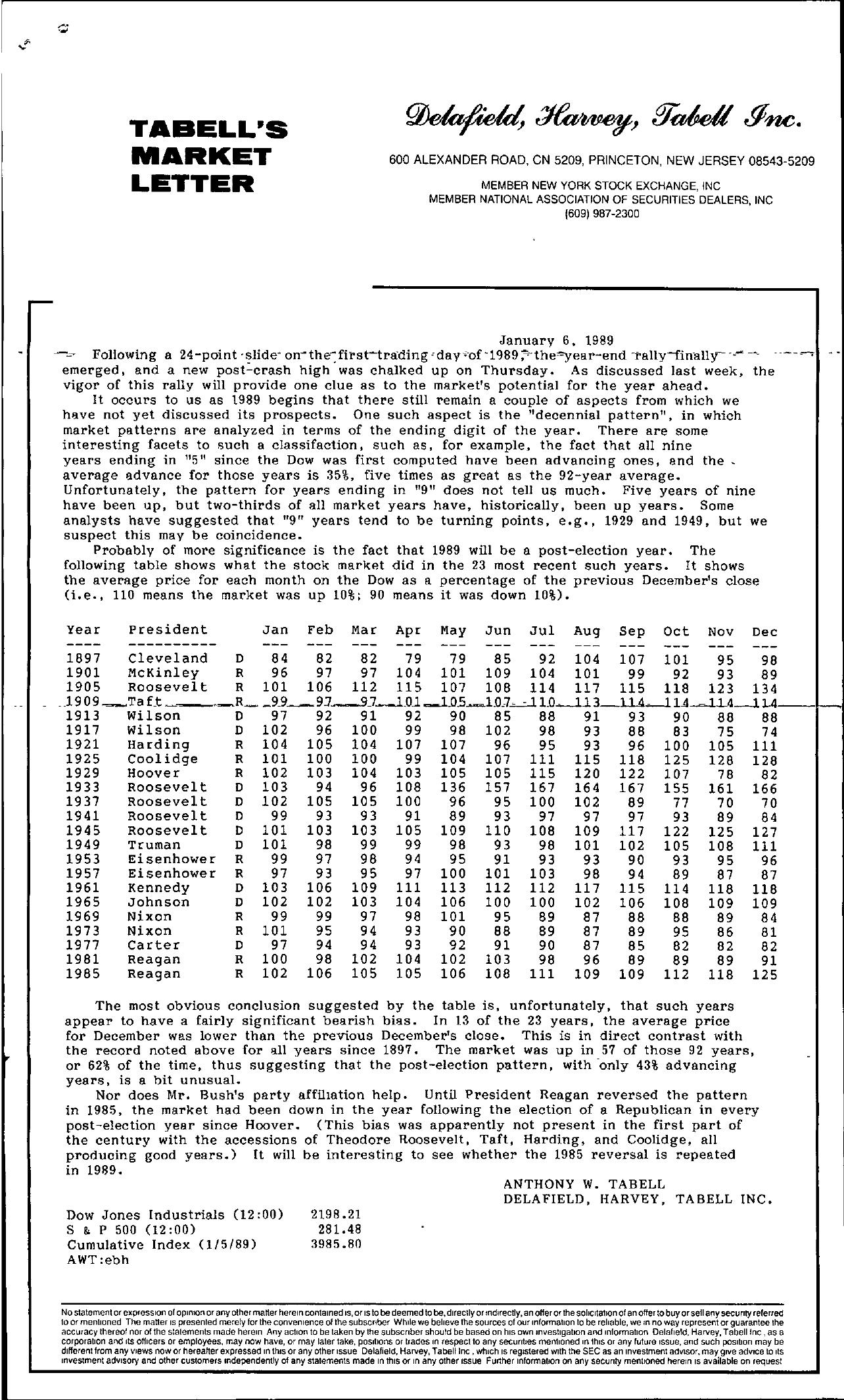 Tabell's Market Letter - January 06, 1989