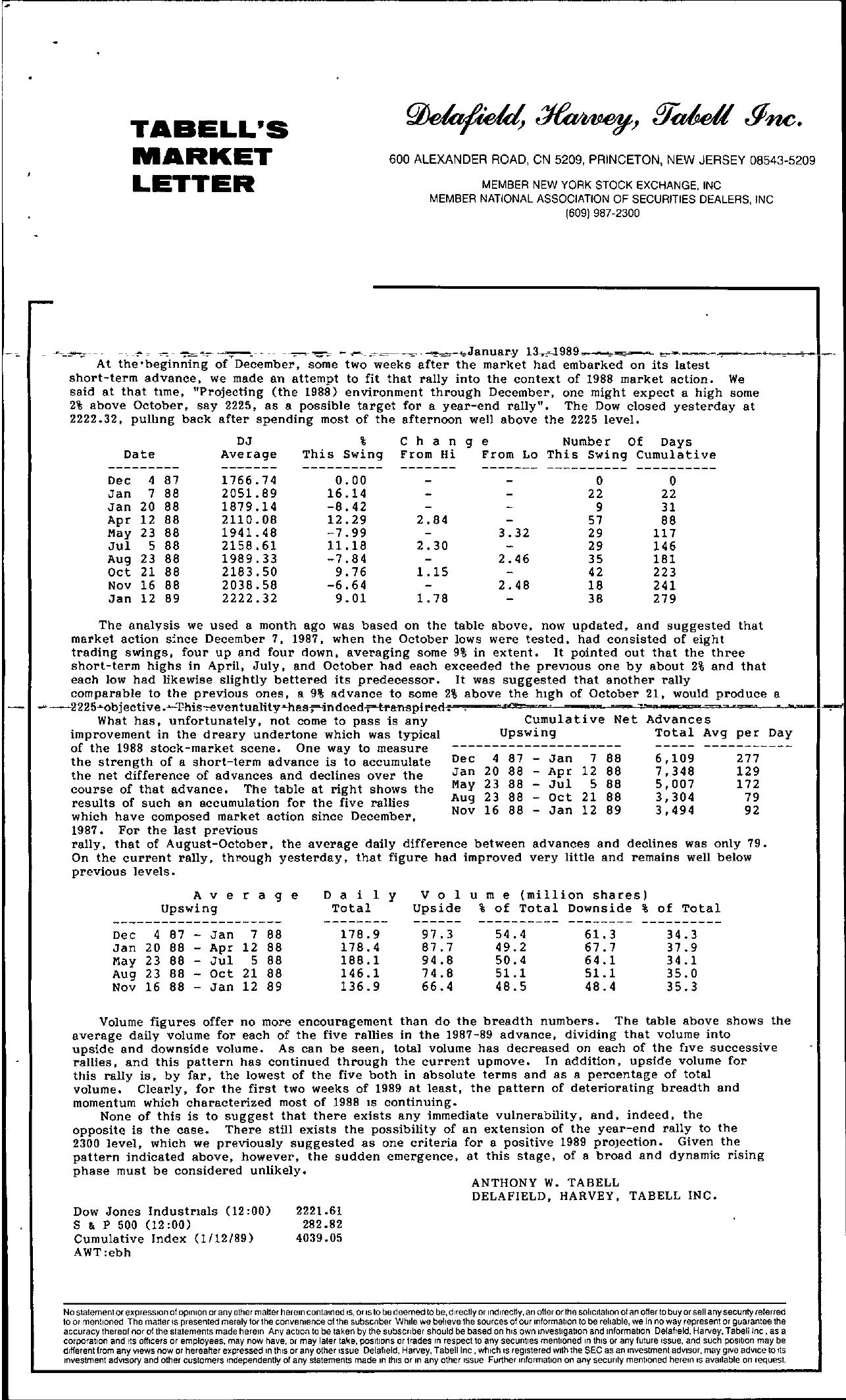 Tabell's Market Letter - January 13, 1989