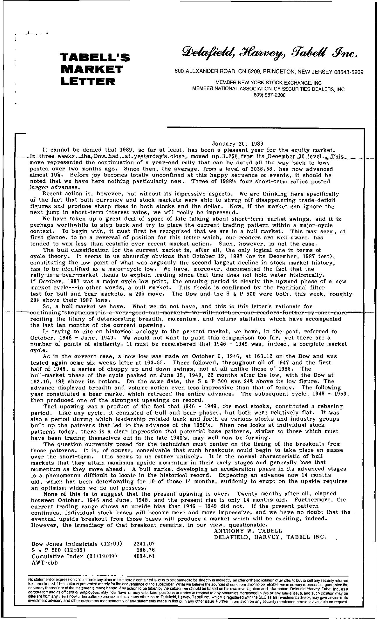 Tabell's Market Letter - January 20, 1989