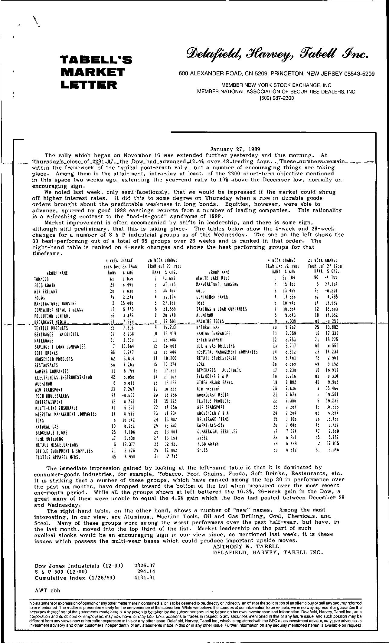 Tabell's Market Letter - January 27, 1989