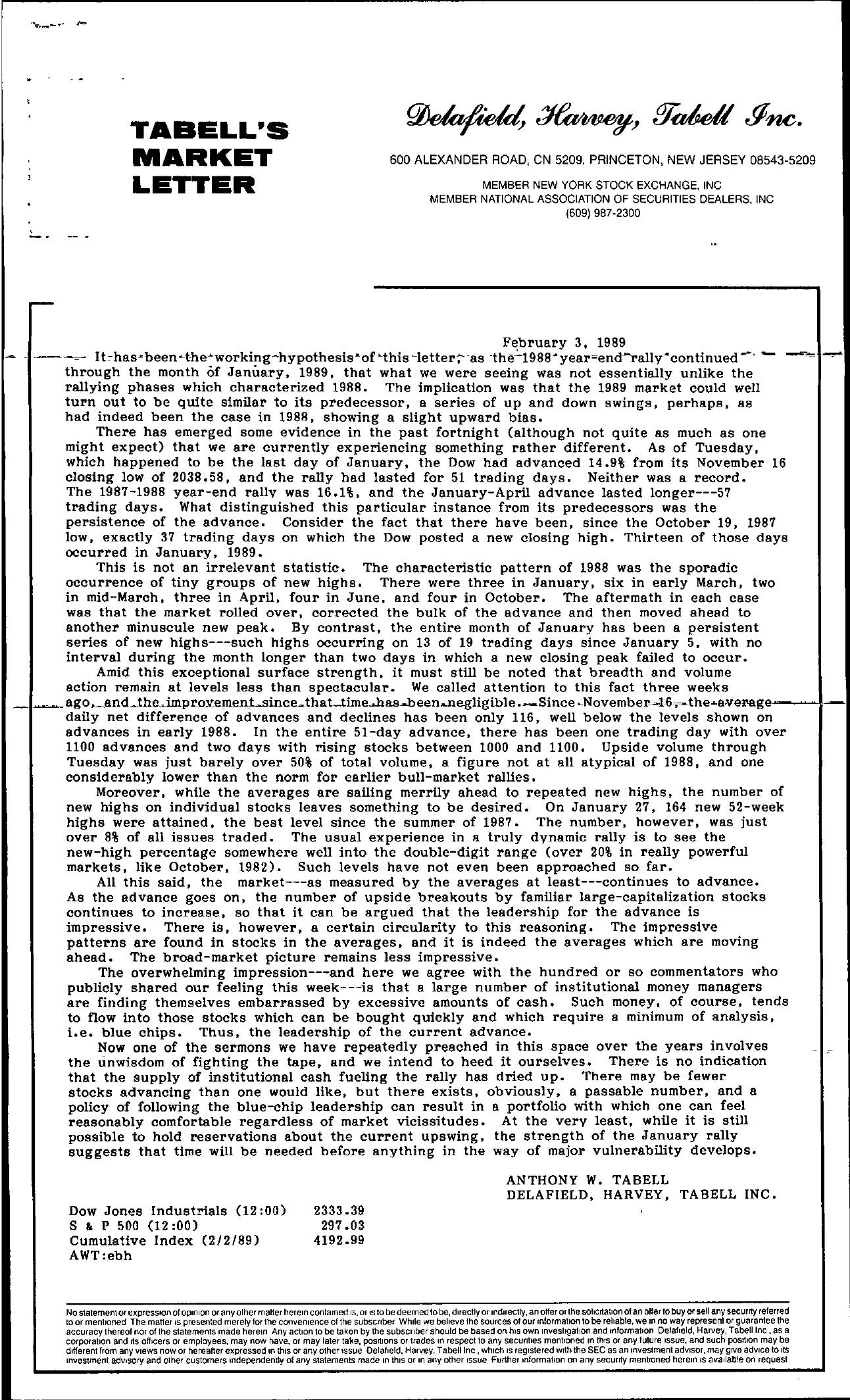 Tabell's Market Letter - February 03, 1989